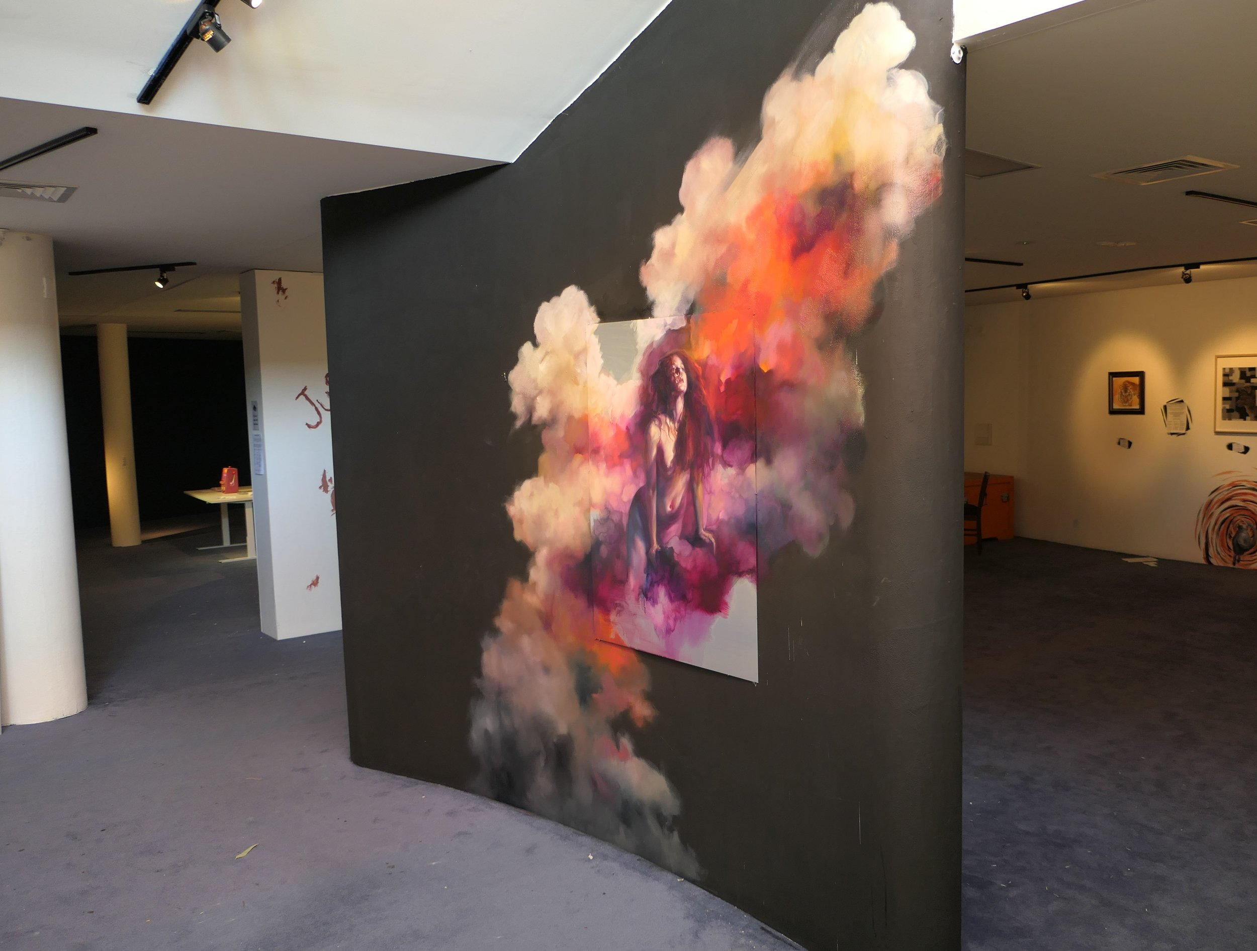 Liz Gridley used the gallery wall as her canvas.