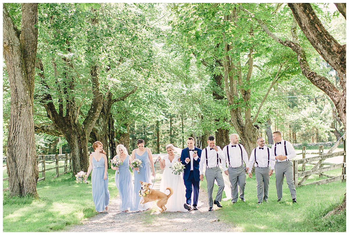 blue and white wedding party