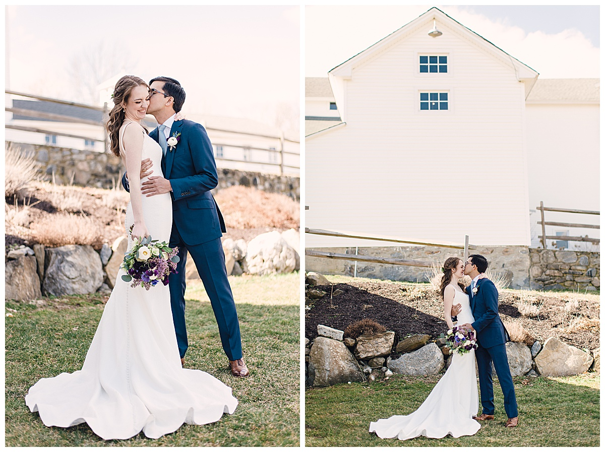 bride and groom on farm