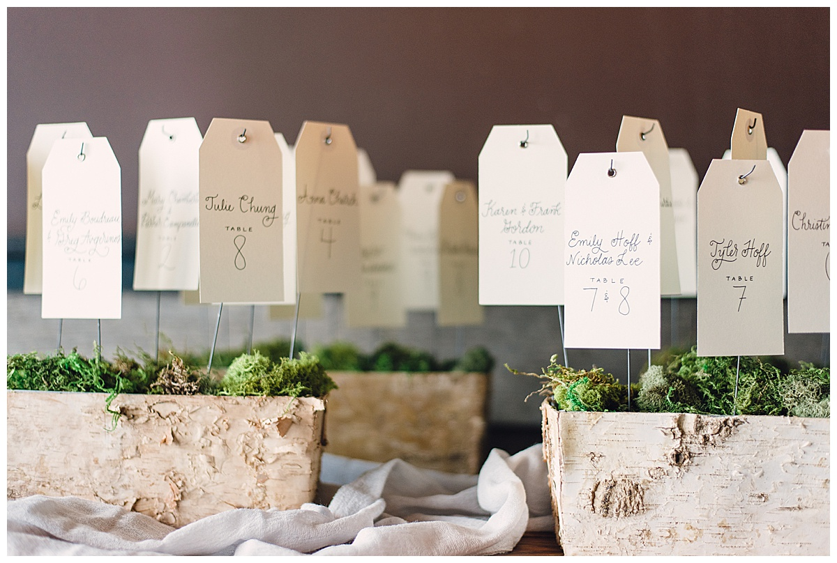 white birch seating cards
