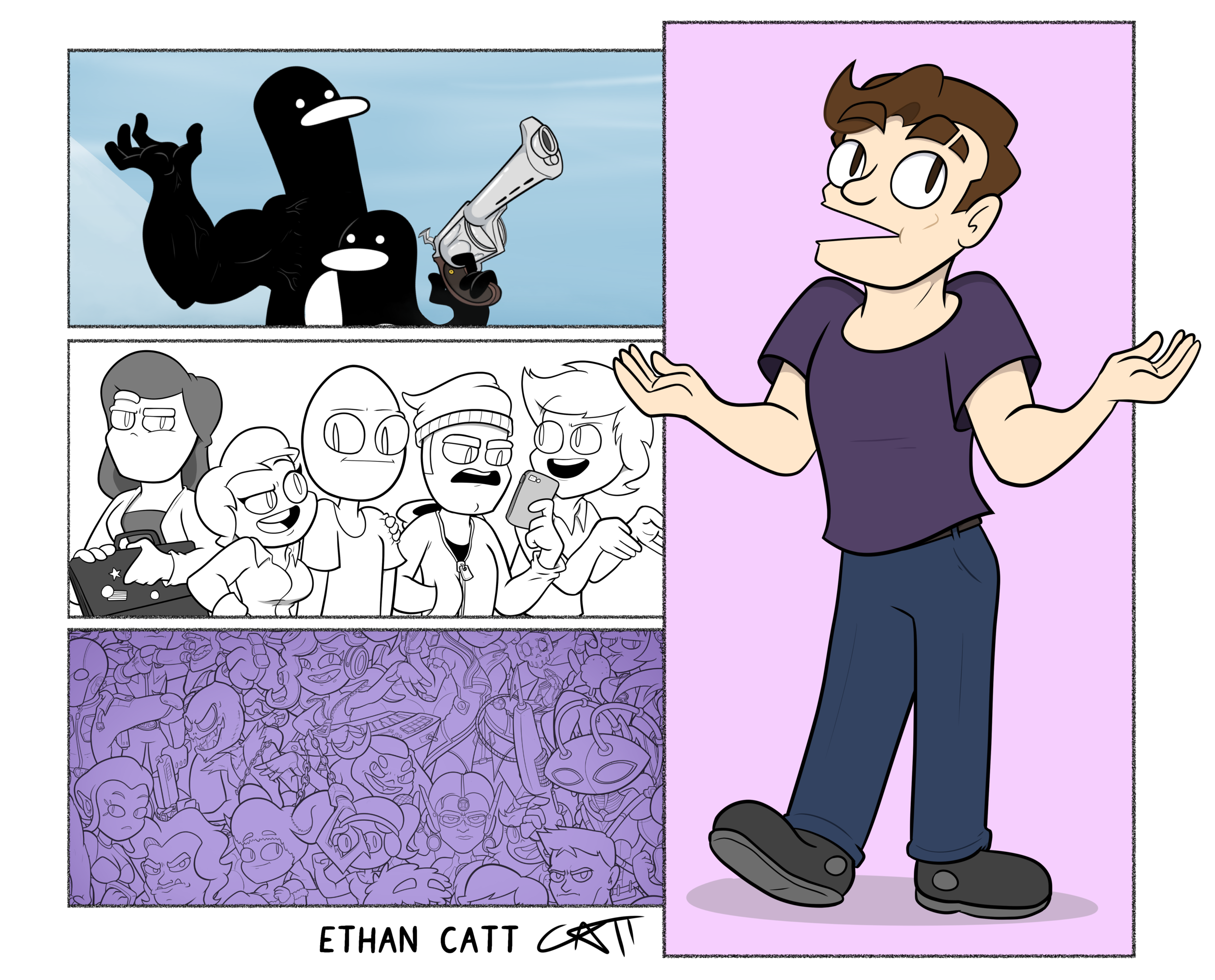 ETHAN CATT: His name's Ethan Catt, but you can call him Ethan Catt. Ethan is a Melbourne born-and-bred comics boy, and the writer/artist behind the webcomics  #Same  and  An Exercise in Futility  – two webcomics that are as humorous as they are existentially terrifying.