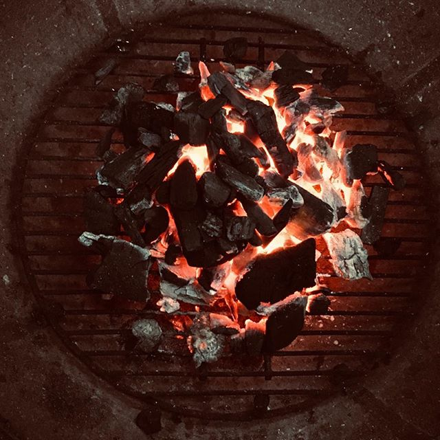 Charcoal fire - Labor Day cook out despite the rain.