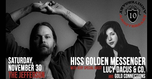 JUST ANNOUNCED: @gold_connections plays this super special @cvillejefferson 10th anniversary show with @hissgoldenmessenger & EggHunt alum @lucydacus on November 30th! Tickets go on sale this Friday 😎 #eggyeah #jeffersontheater #anniversaryshow #hype