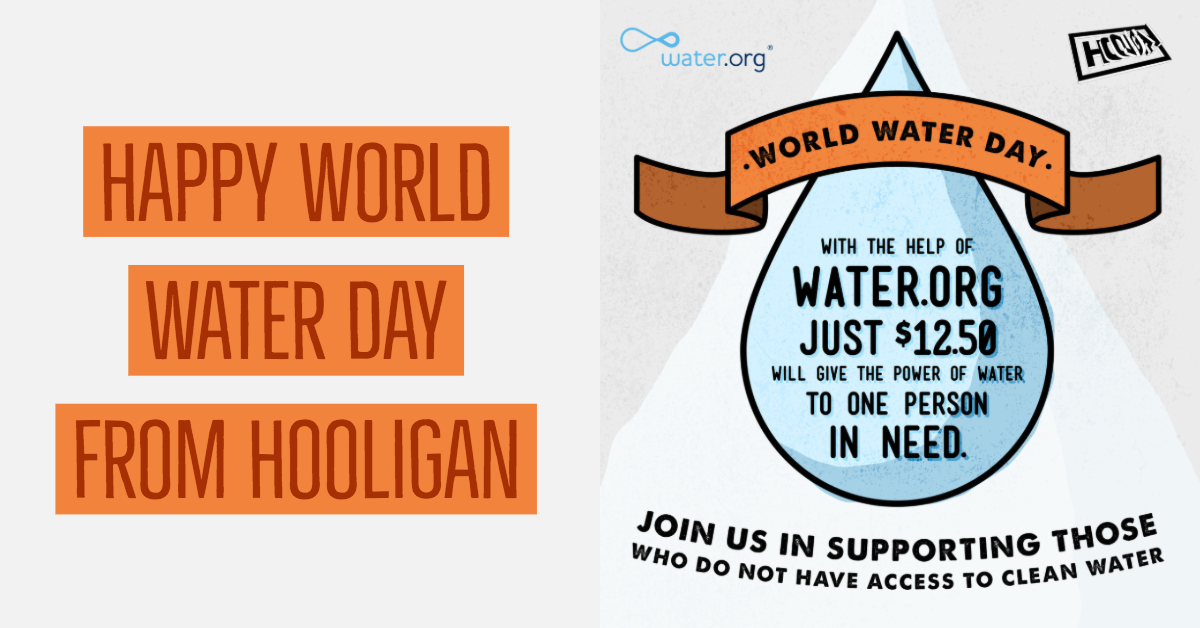 Today on World Water Day, join us in supporting those people who do not have access to a basic human right and resource – clean water.  If you don't have access to clean drinking water you are less likely to have a job, go to school or have the ability to support yourself and your family.  We are supporting Water.org to help families around the world get access to safe water and sanitation.  A donation of just $12.50 will give the power of water to one person in need.  Visit  https://water.org/  to find out how you can get involved.