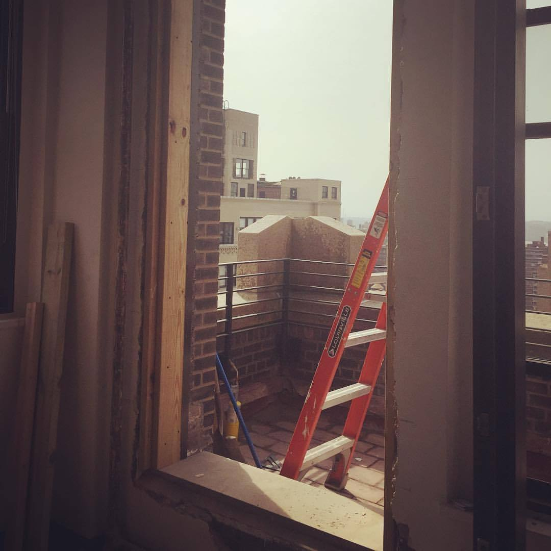 Can't wait to step out into the view on our new terrace. After lots of coding hurdles, this is finally happening! #nycviews #officecocktails #chelseanyc #terraceview #postproduction #constructionsite