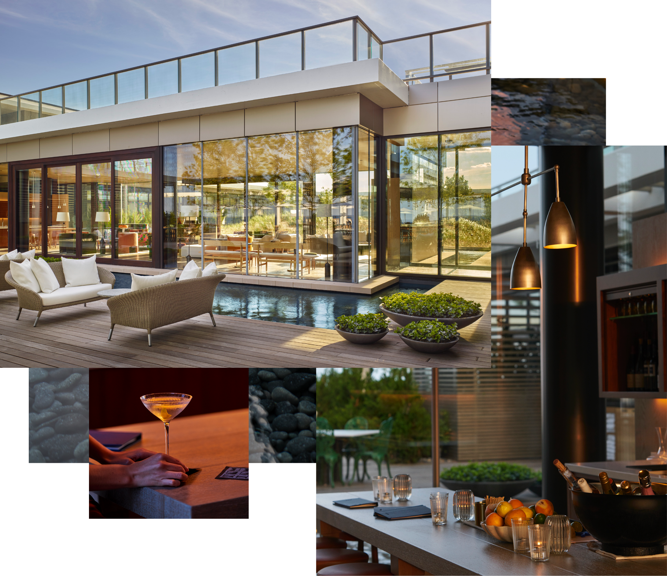 the drawing room - The heart of the hotel. Looking through floor to ceiling glass onto the pool garden and terrace, the Drawing Room serves as part living room, part bar, part music room. An all-day retreat for any taste.