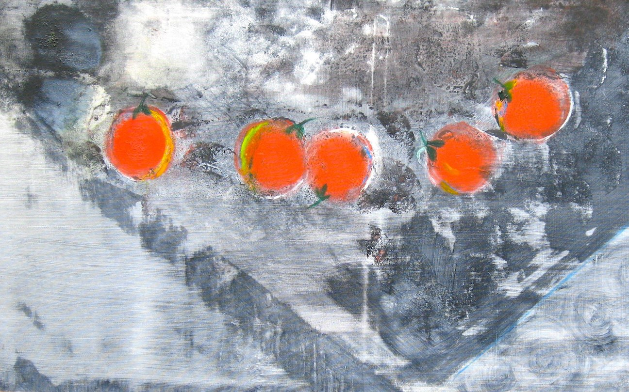 Oranges on a Gray Table
