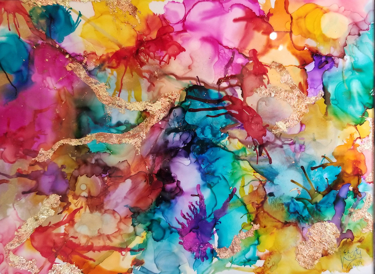 What Do You See?  (Alcohol inks with variegated gold leaf) $125
