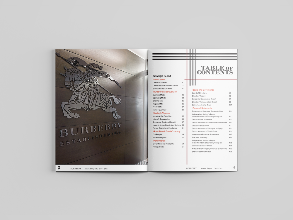 Annual report - Mock annual report created for Burberry fashion company.