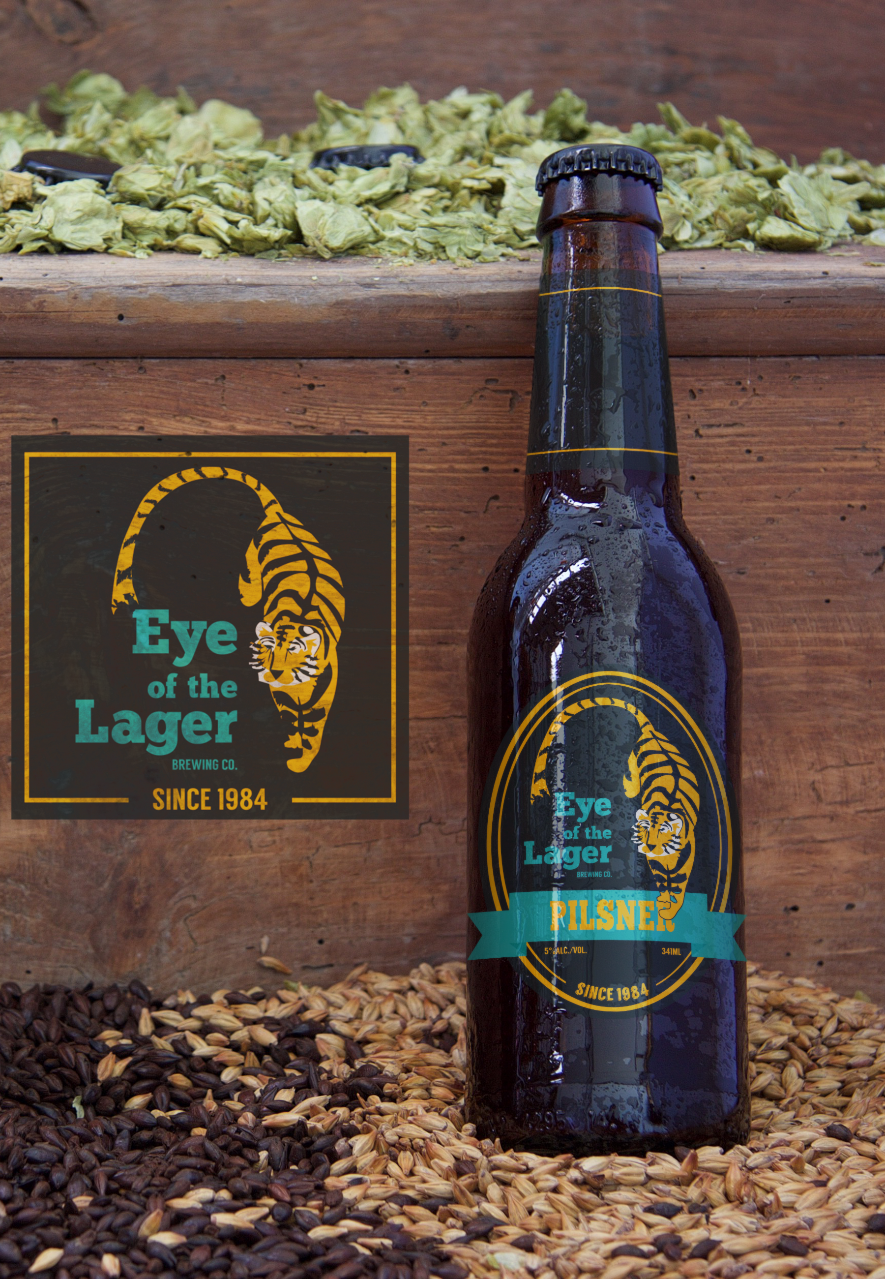 beer label - Eye of the Lager | Beer Label created for fictional brand.