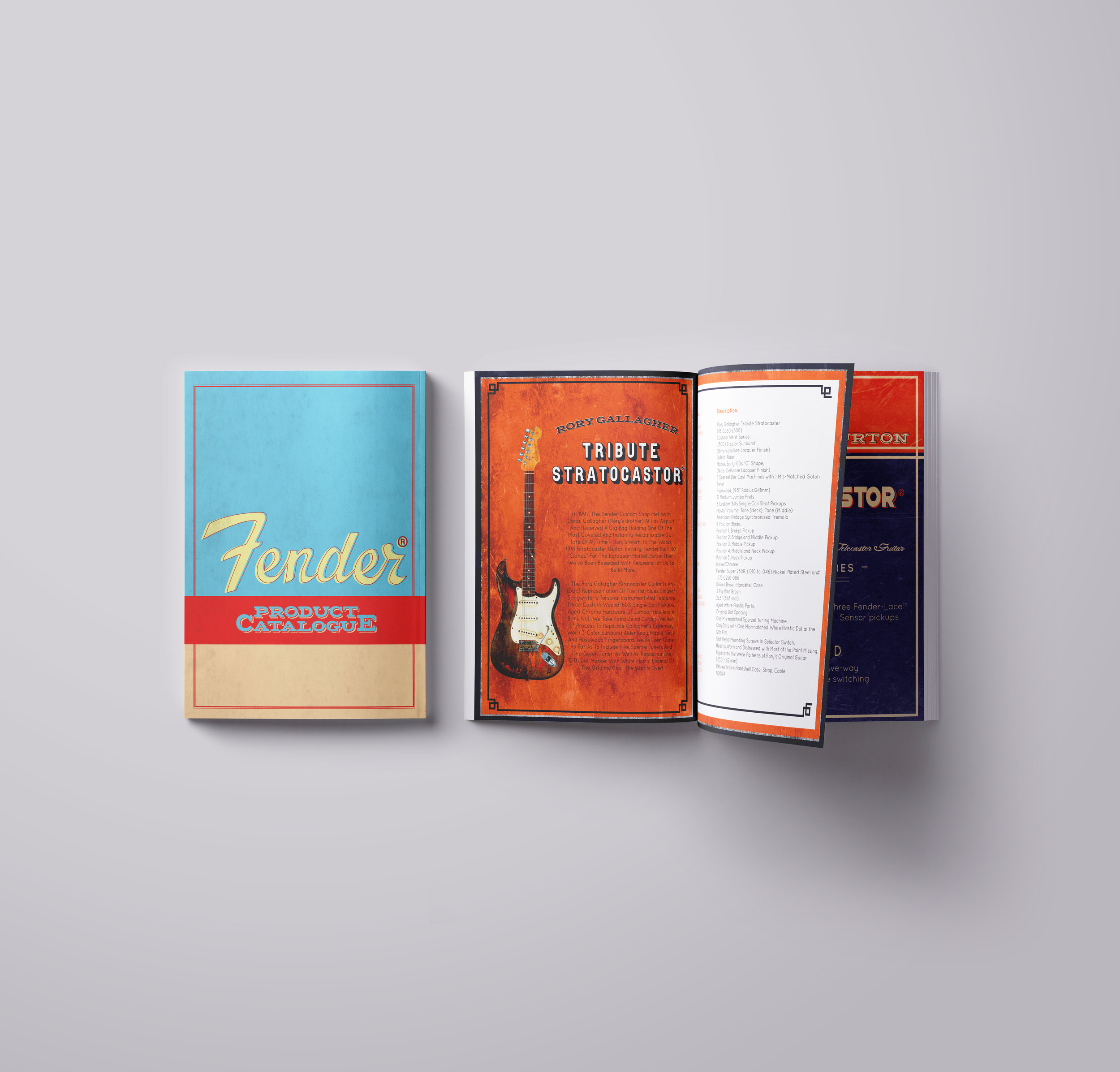 product catalogue - Mock product catalogue for Fender Guitars. Inspired by vintage advertisements and packaging design.
