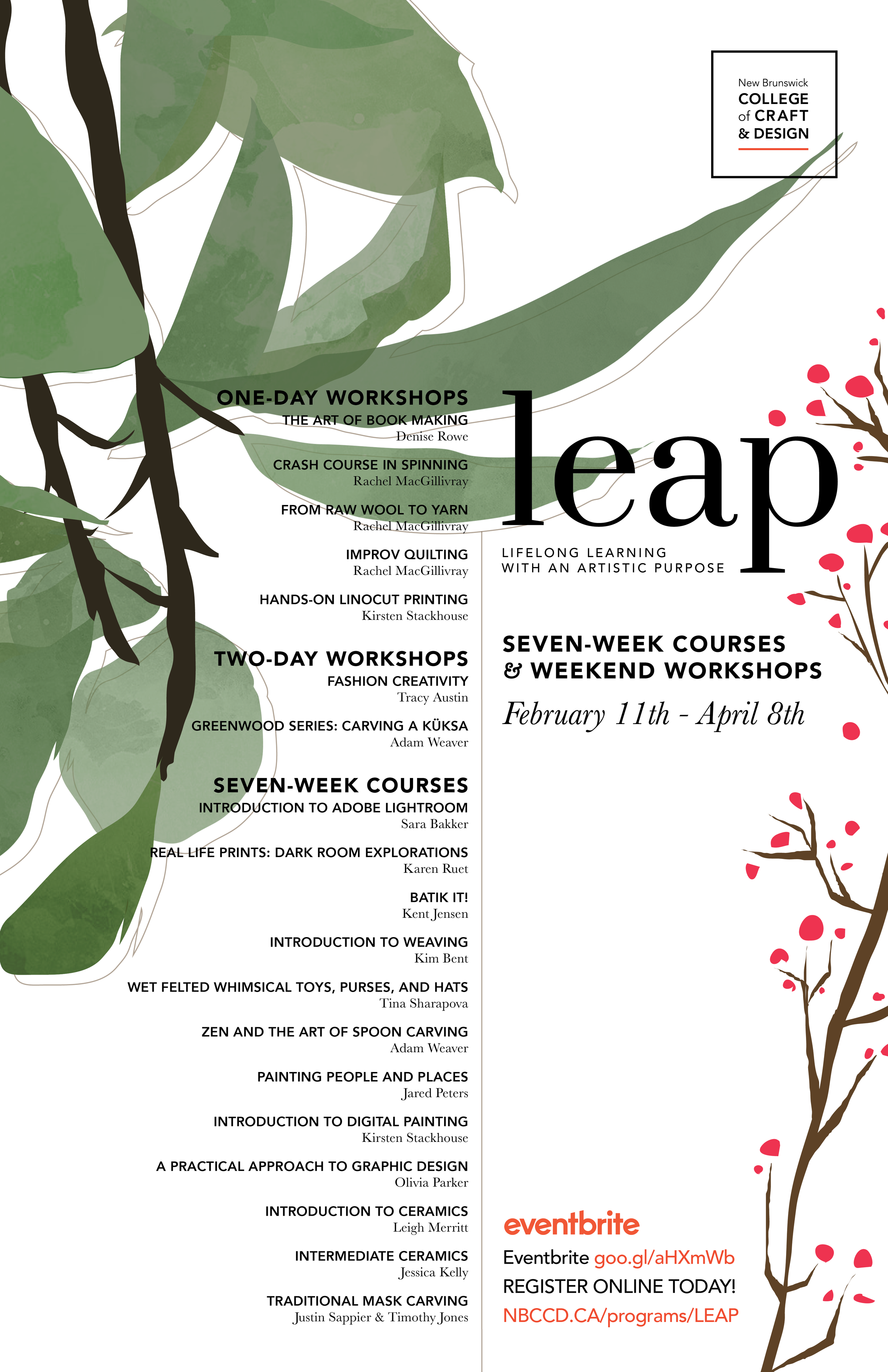 leap poster - Poster for the list of winter LEAP courses offered by the New Brunswick College of Craft & Design.
