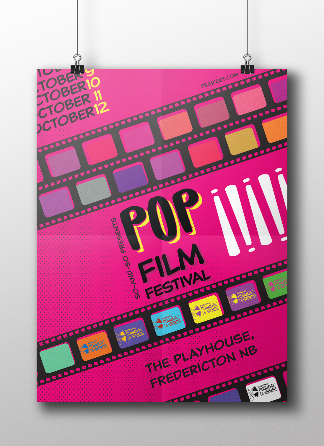 film festival poster - POP! Film Festival | Given and event and an art style we were tasked with creating a poster and two variations for the event. This is a combination film festival and Pop Art.
