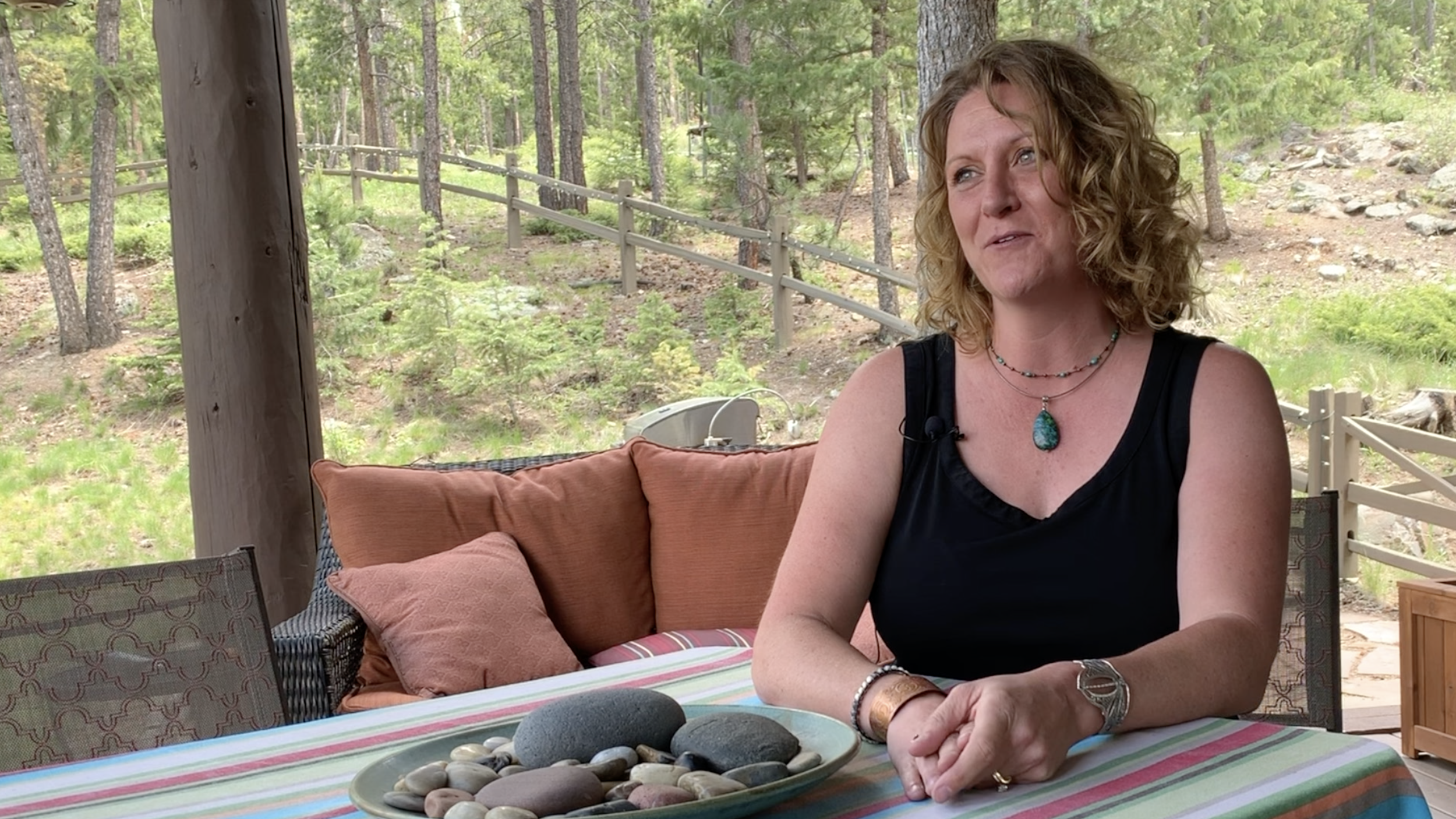 Julie Leidel at her home in the Rocky Mountains outside of Denver, Colorado.
