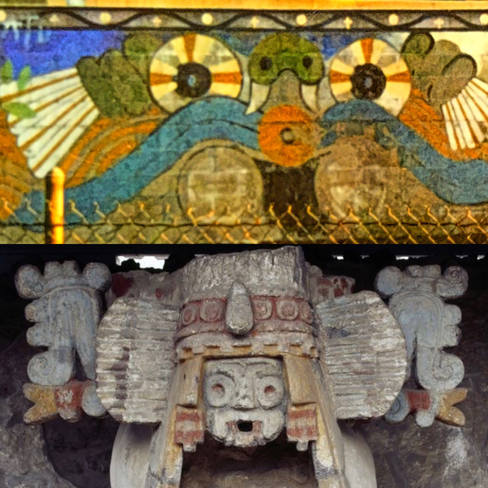 The Aztec God of Rain & Fertility - Tlaloc (Tlá-lock), may have been slightly awoken in the restoration progress this weekend as we had a little bit of rain today! Tlaloc is one of the most recognizable symbols of Aztec mythology that the Atwood Mural has. Manuel created his own vision of Tlaloc in the mural.