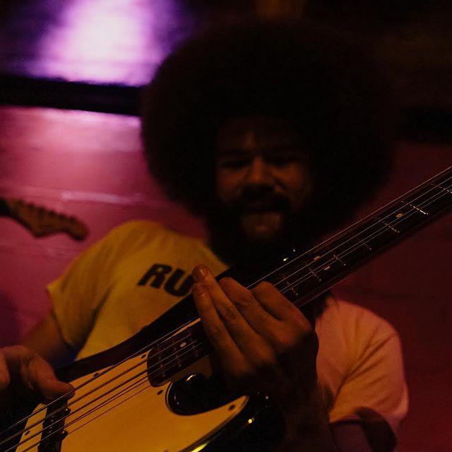 Part 3 (I know it's been a minute but no more breaks for a while) - Meet Stephen @skingslow  The fro is thick, but the bass lines are thicker. When he's not out cooking up some of the tastiest base lines in New York, you can catch him and @taratheband next Thursday at @goldsoundsbar bar in Brooklyn. We go on at 9 🤙🏽. #indierock #dreampop #shoegaze #shoegazeband #synthpop #synthwave #bass #brooklynmusic #newyorkmusic #postrock #indiemusic