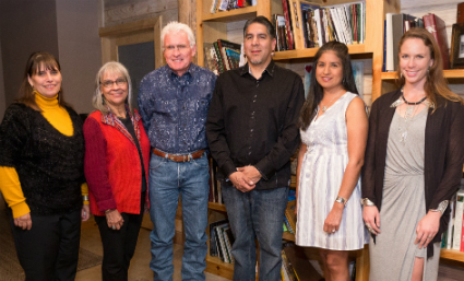 Pictured from left: Laura Marshall Clark, exhibition program manager, Chickasaw artists Margaret Roach Wheeler, Dan Worcester, Brent Greenwood, Joanna Underwood Blackburn and Kristen Dorsey.