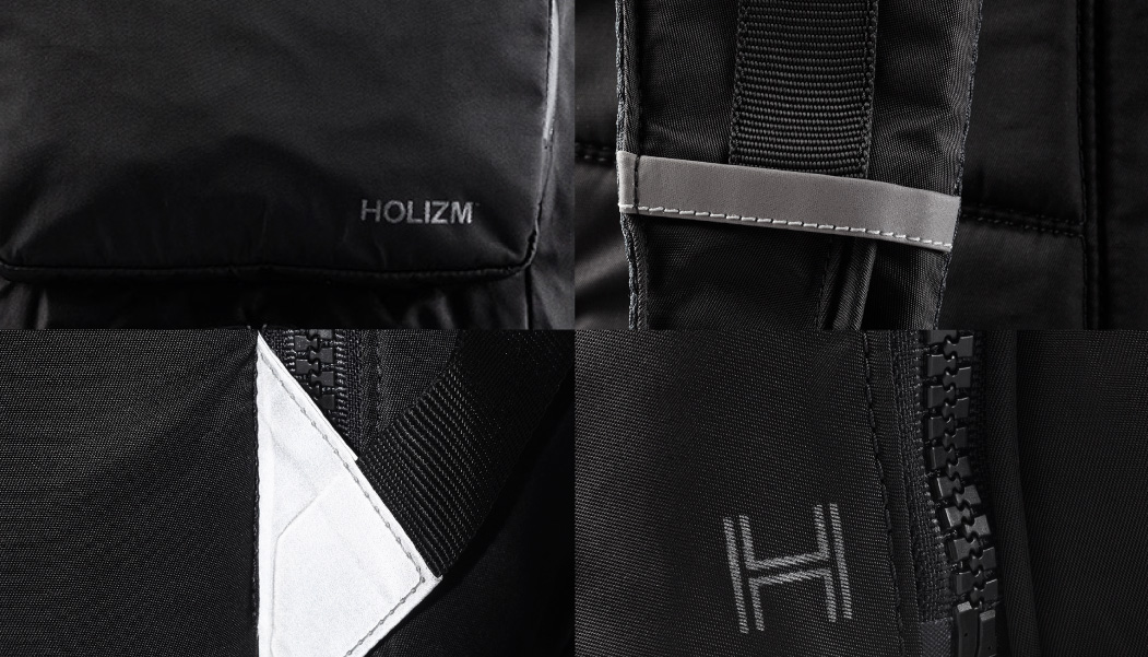 REFLECTIVE ELEMENTS - Strategically placed on three sides of backpack for visibility in low light conditions.