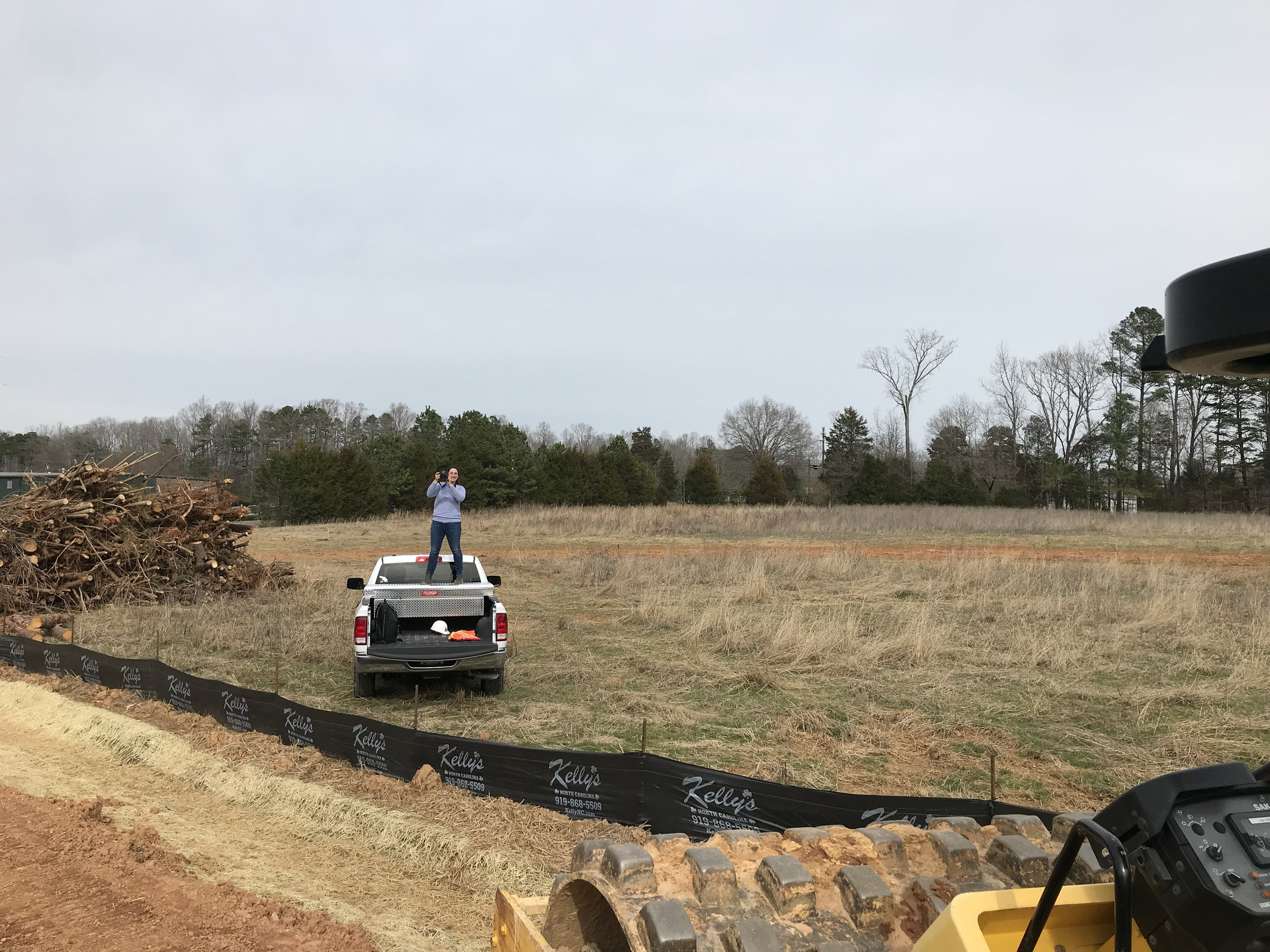 Photographing staff and construction progress at Wetrock Farm, Durham NC.