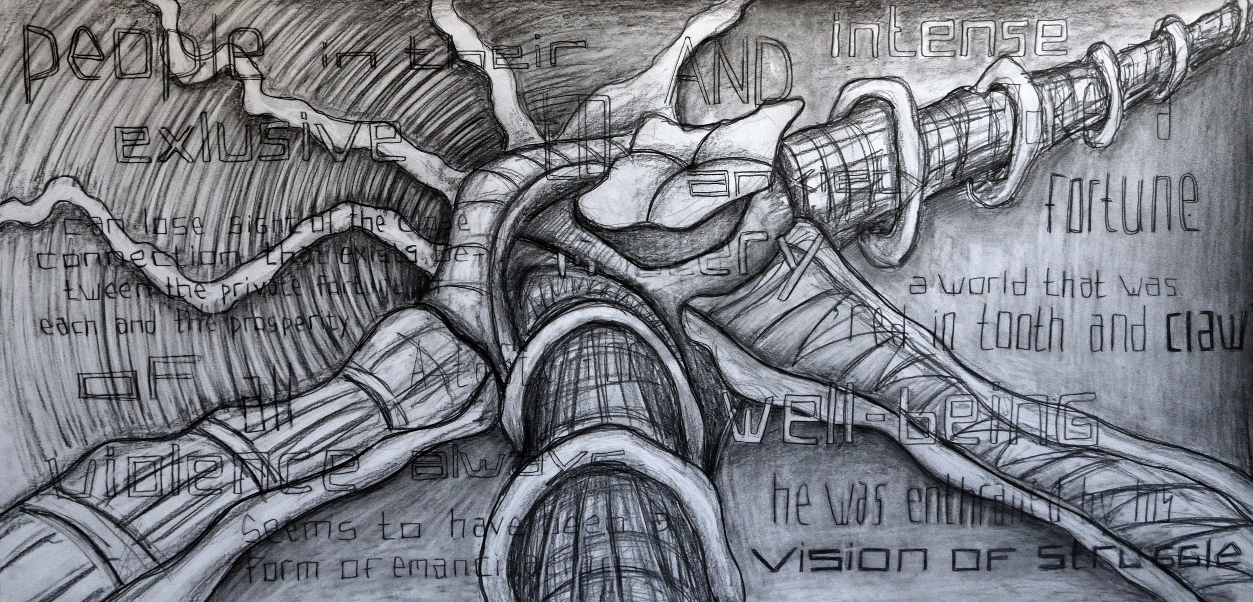 A Red World of Private Emancipation, pencil on paper, 70x140cm
