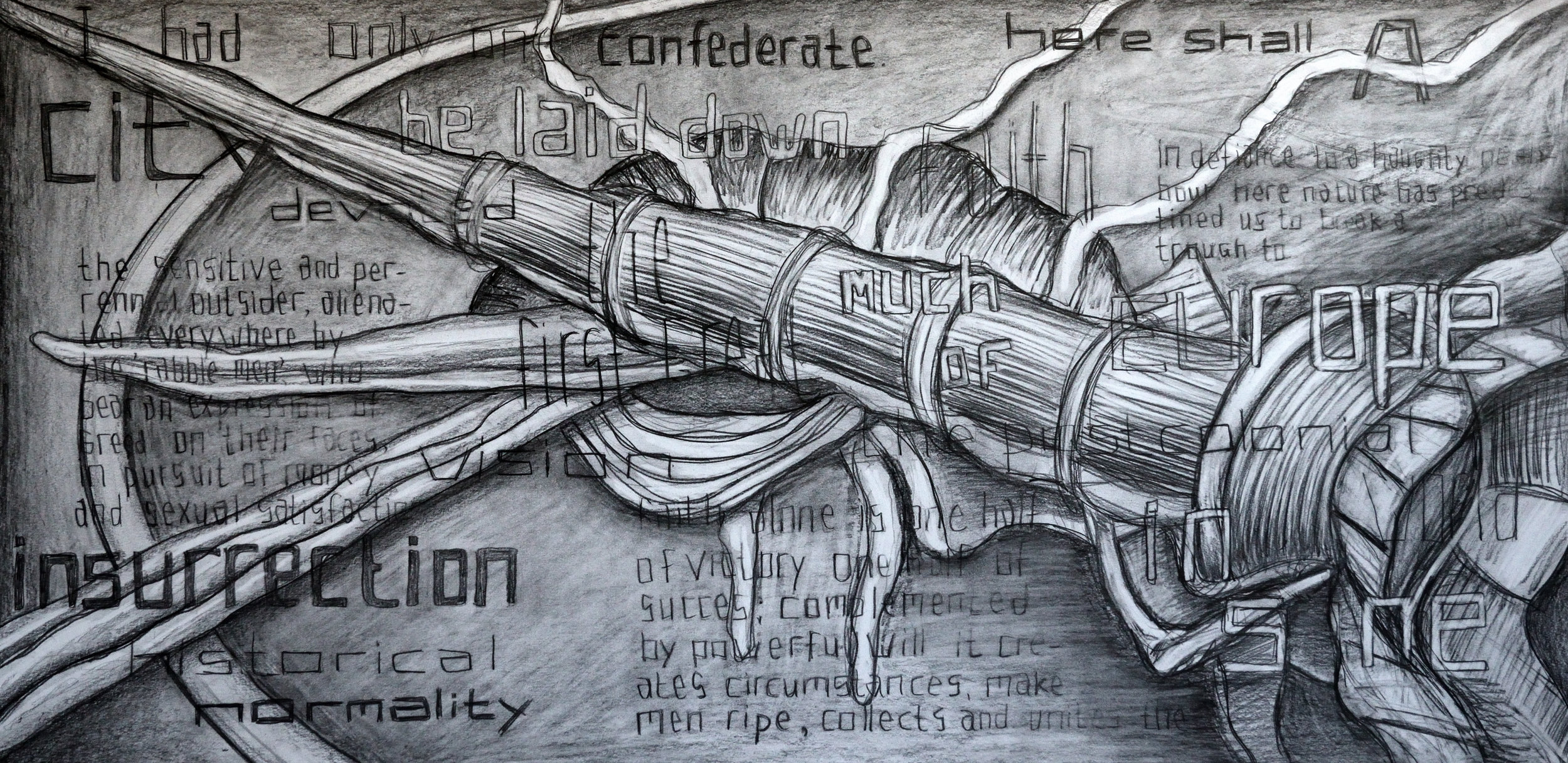 Here Shall a Devoted Vision be Laid Down, pencil on paper, 70x140cm
