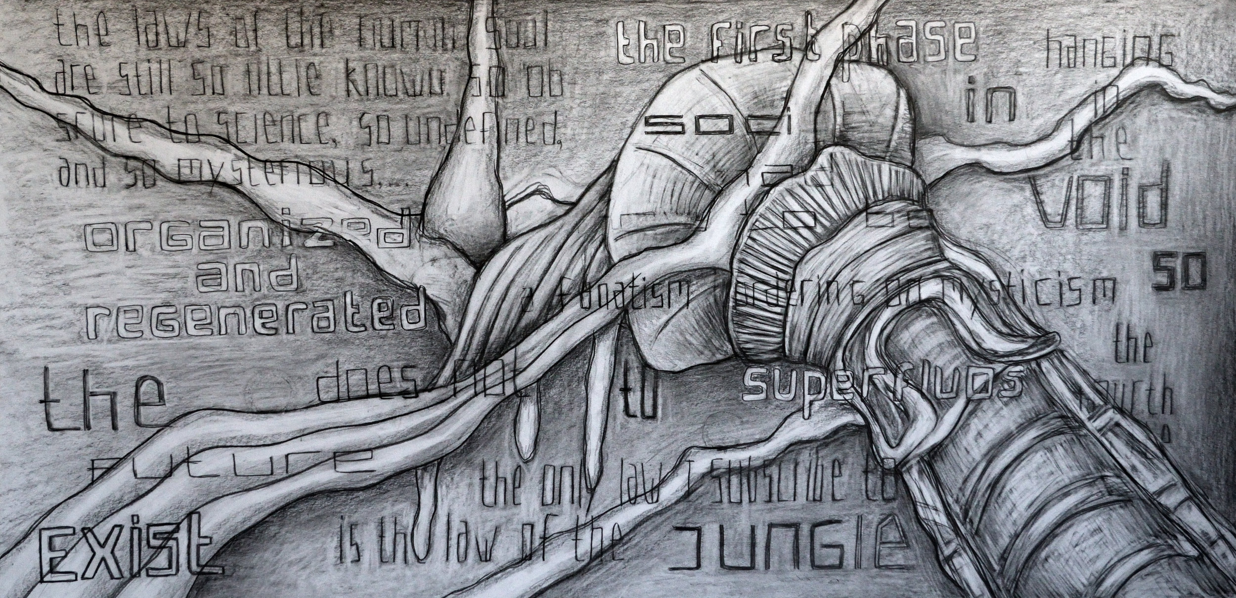 The Future Regenerated in the Void, pencil on paper, 70x140cm