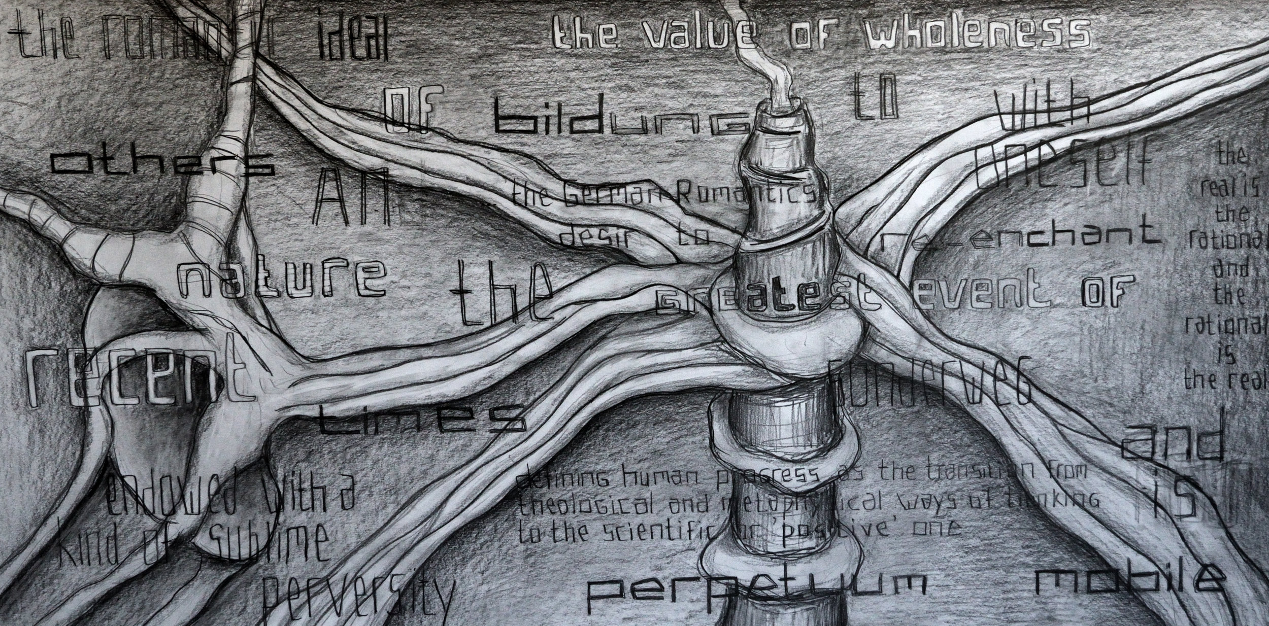 Endowed With a Kind of Sublime Romantic Wholeness, pencil on paper, 70x140cm