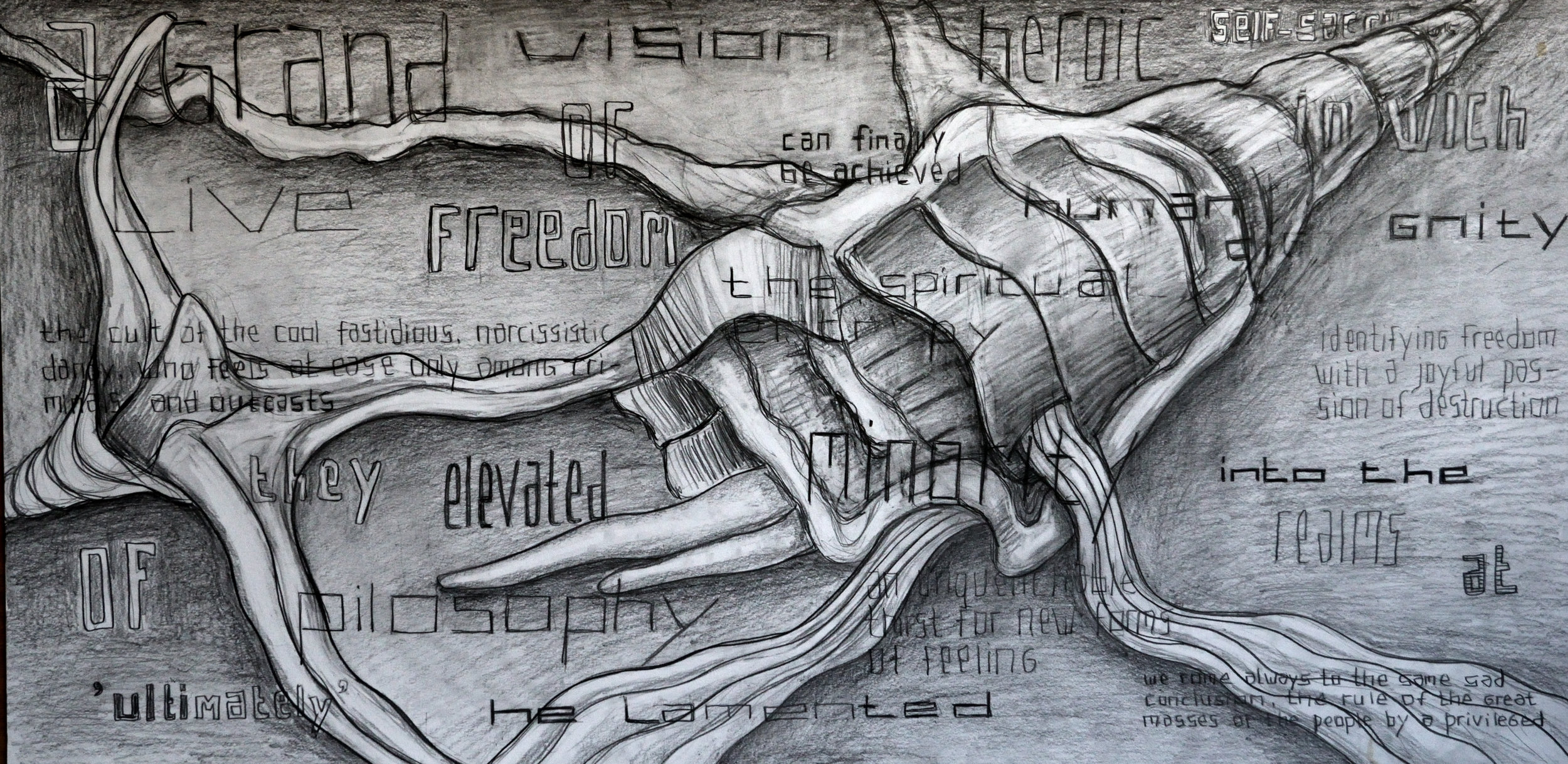 Identifying an Unguenchable Thirst for New Forms of the Heroic Self, pencil on paper, 70x140cm