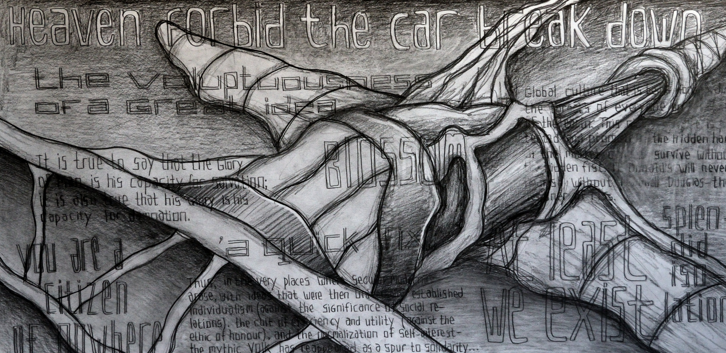 The Hidden Hand of The Citizen, pencil on paper, 70x140cm