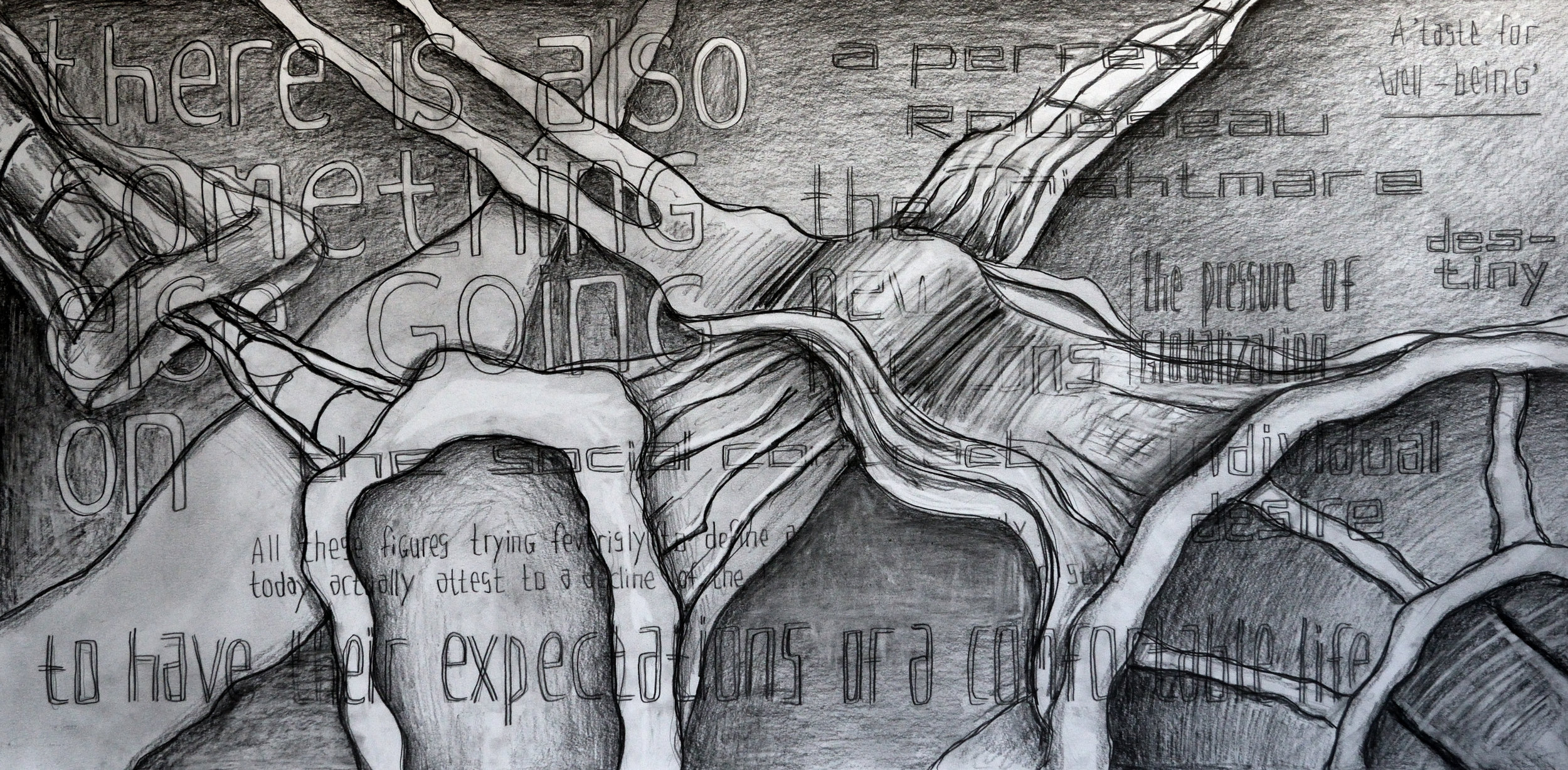 The Pressure of a Perfect Life, pencil on paper, 70x140cm