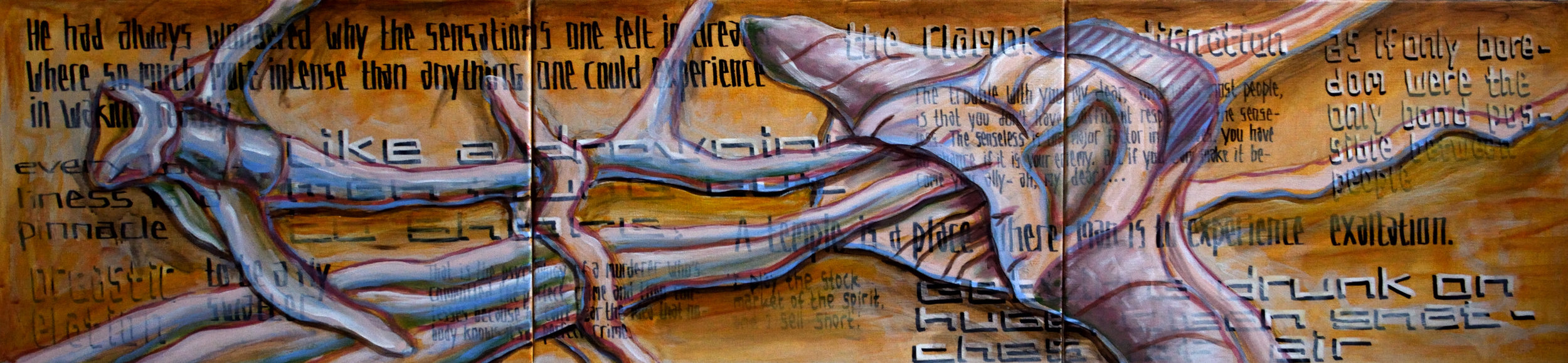 Triptych DO, A Place where Man is to Experience the Smile of the Senseless, acrylic and marker on canvas, 50x210cm