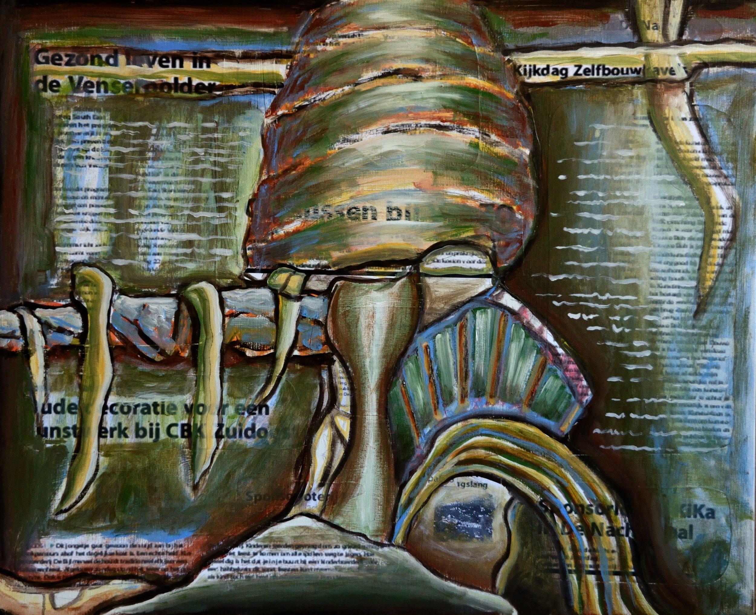 Nachtegaal, acrylic and collage on canvas, 90x110cm