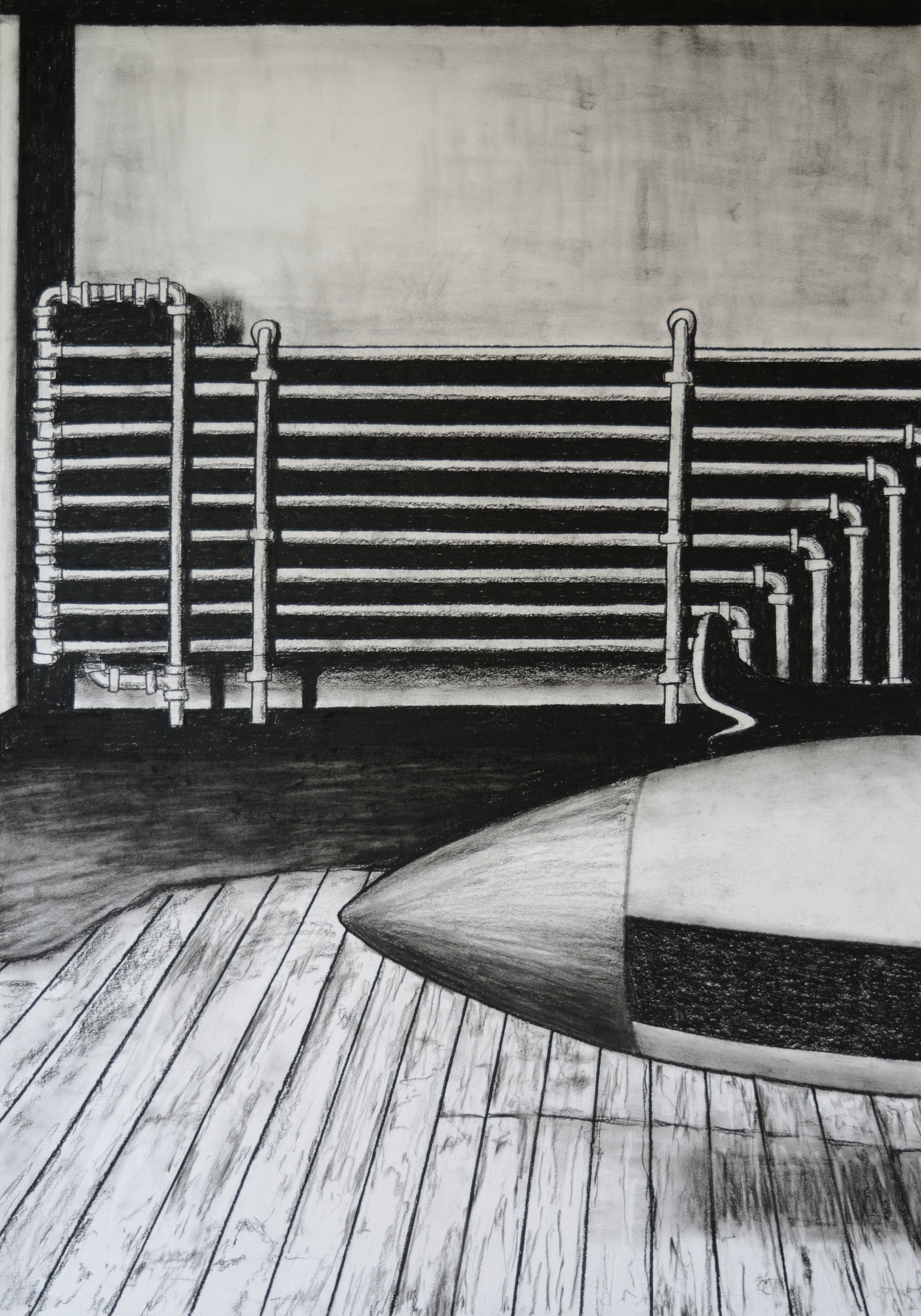 The Hangar, 100x70cm, conte on paper