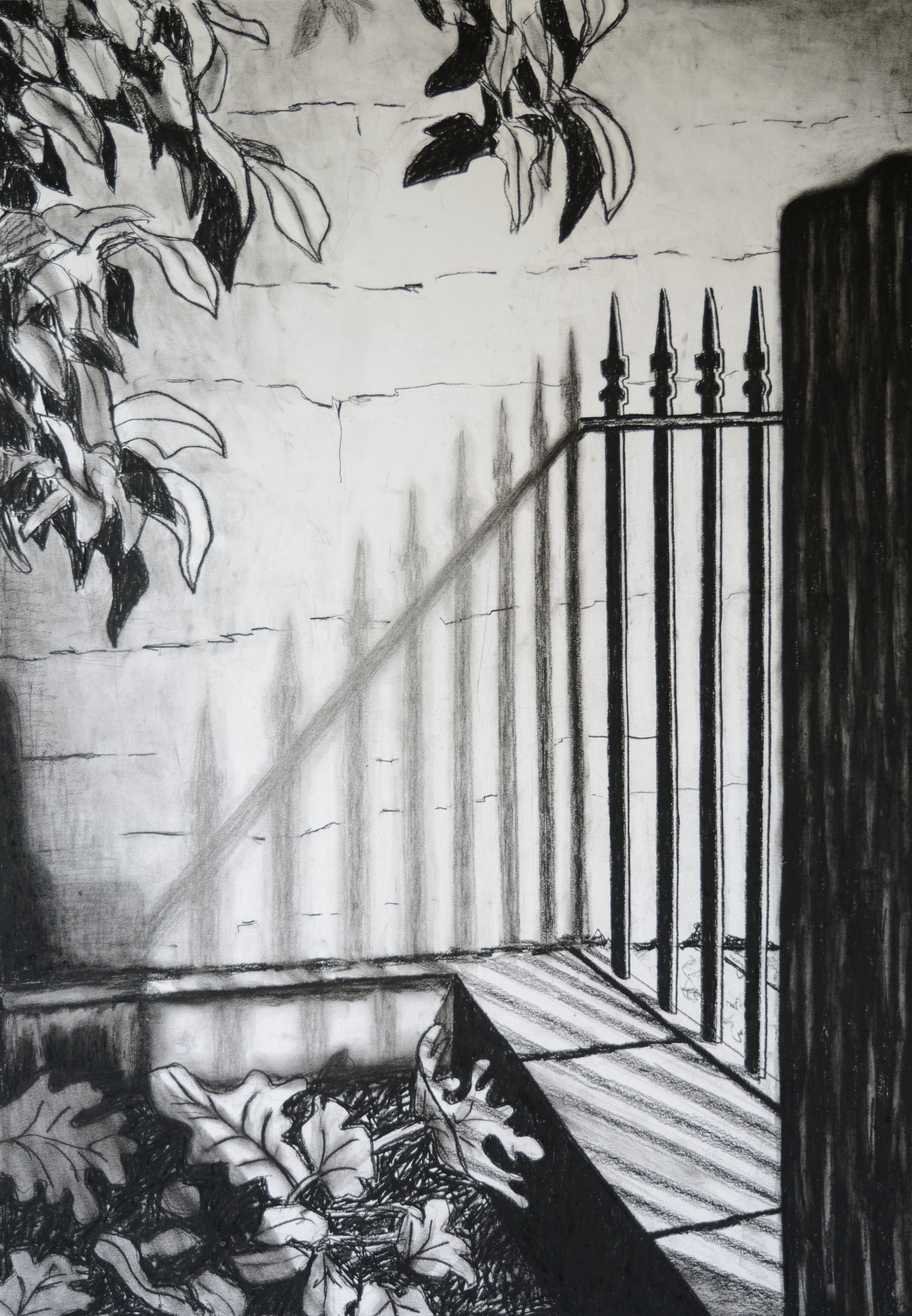 The Fence, 100x70cm, conte on paper