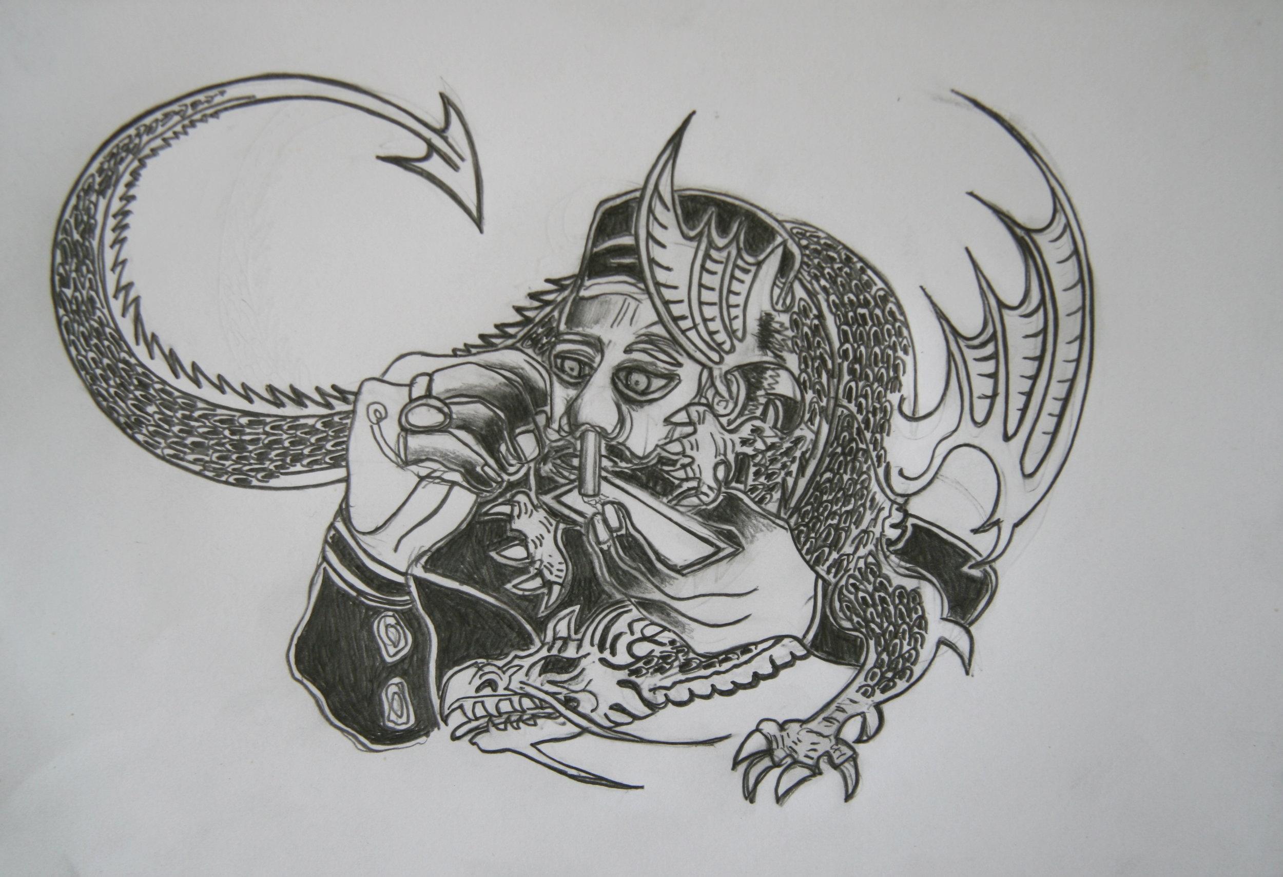Het Jaar van de Draak, 21x30cm,  pencil on paper