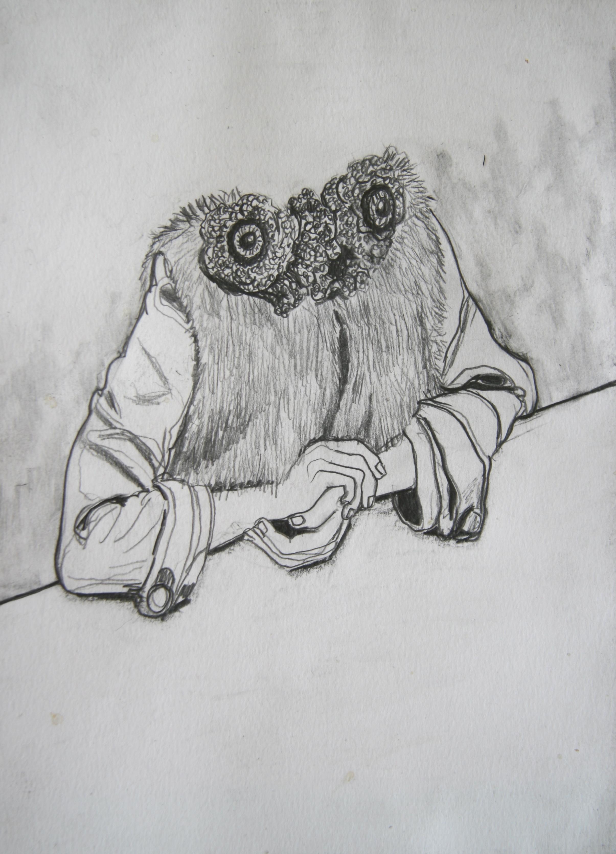 Aan Tafel, 30x21cm, pencil on paper