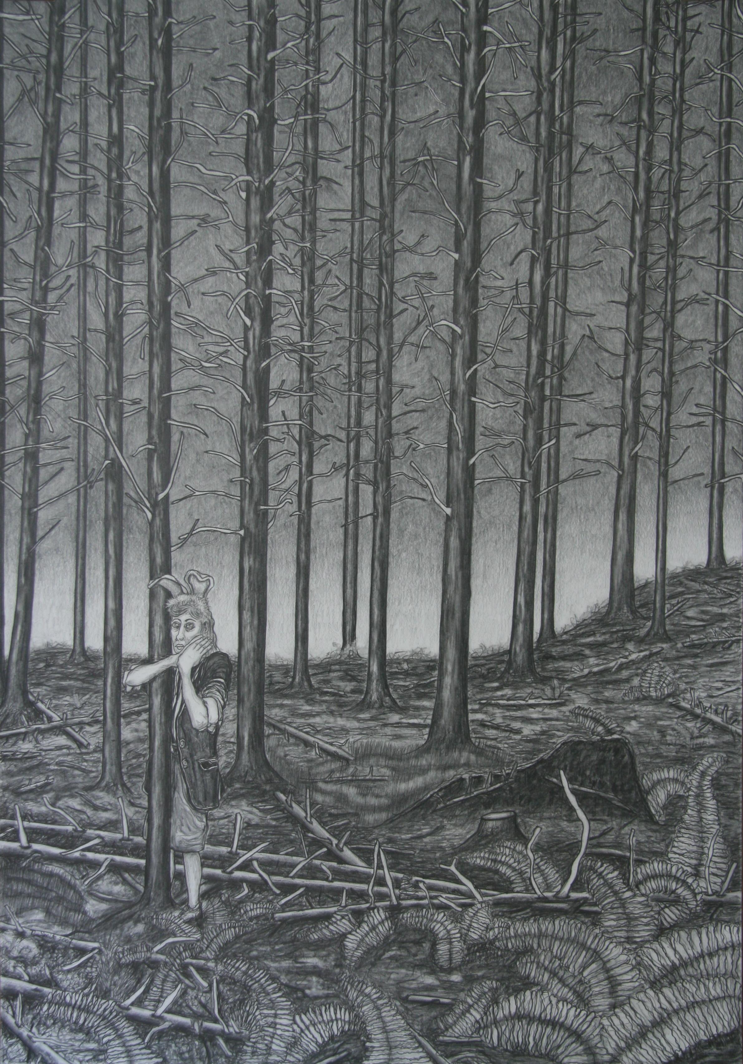 Alleen in het woud, 100x70cm, pencil on paper
