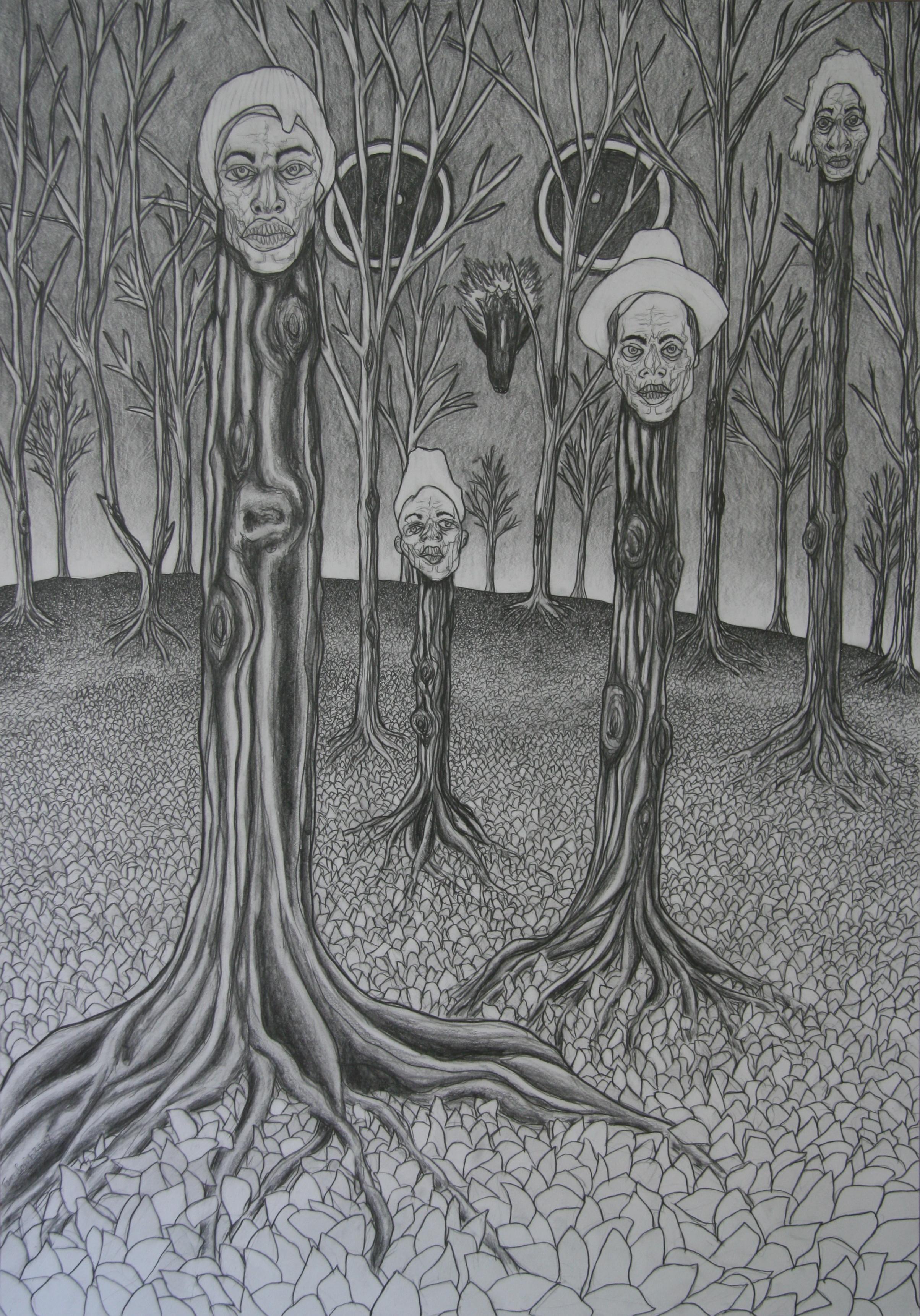 Herfstnachtevening, 100x70cm, pencil on paper