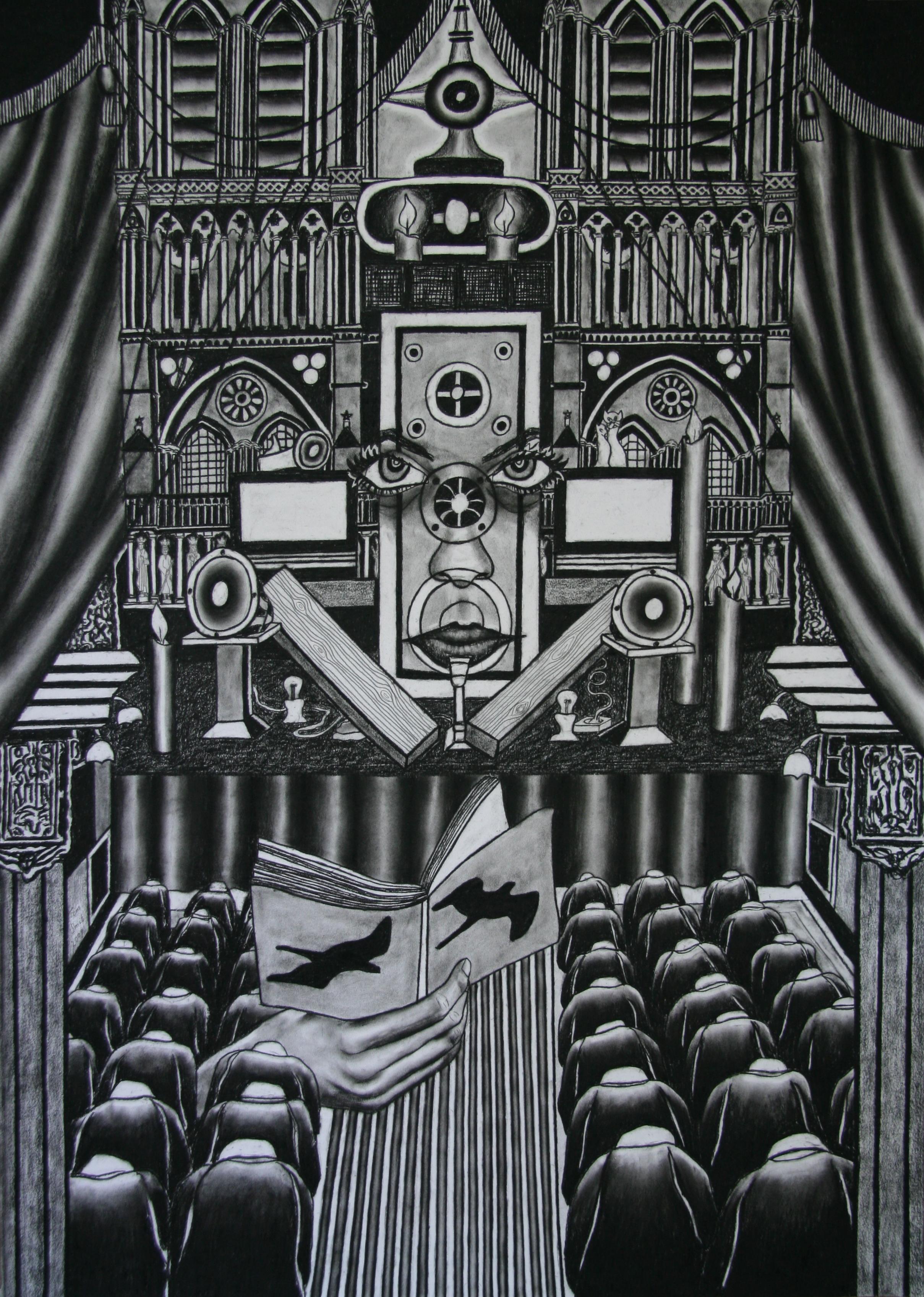 Het Nieuwe Geloven, 140x100cm, conte on paper