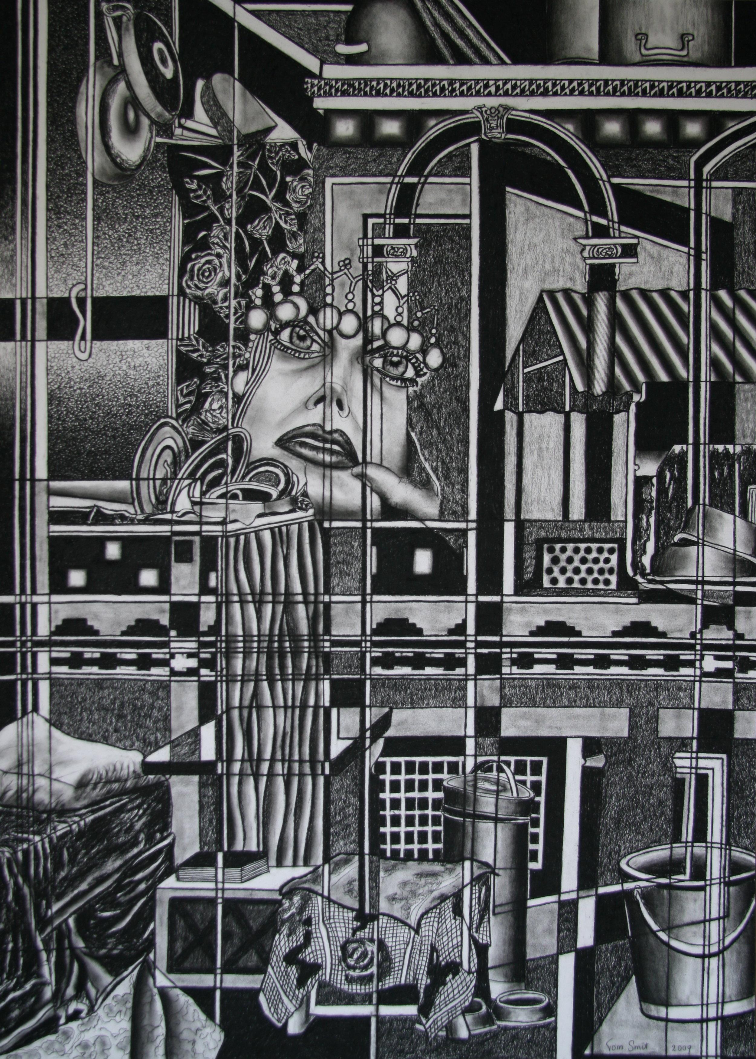 Laren en Penaten, 140x100cm, conte on paper