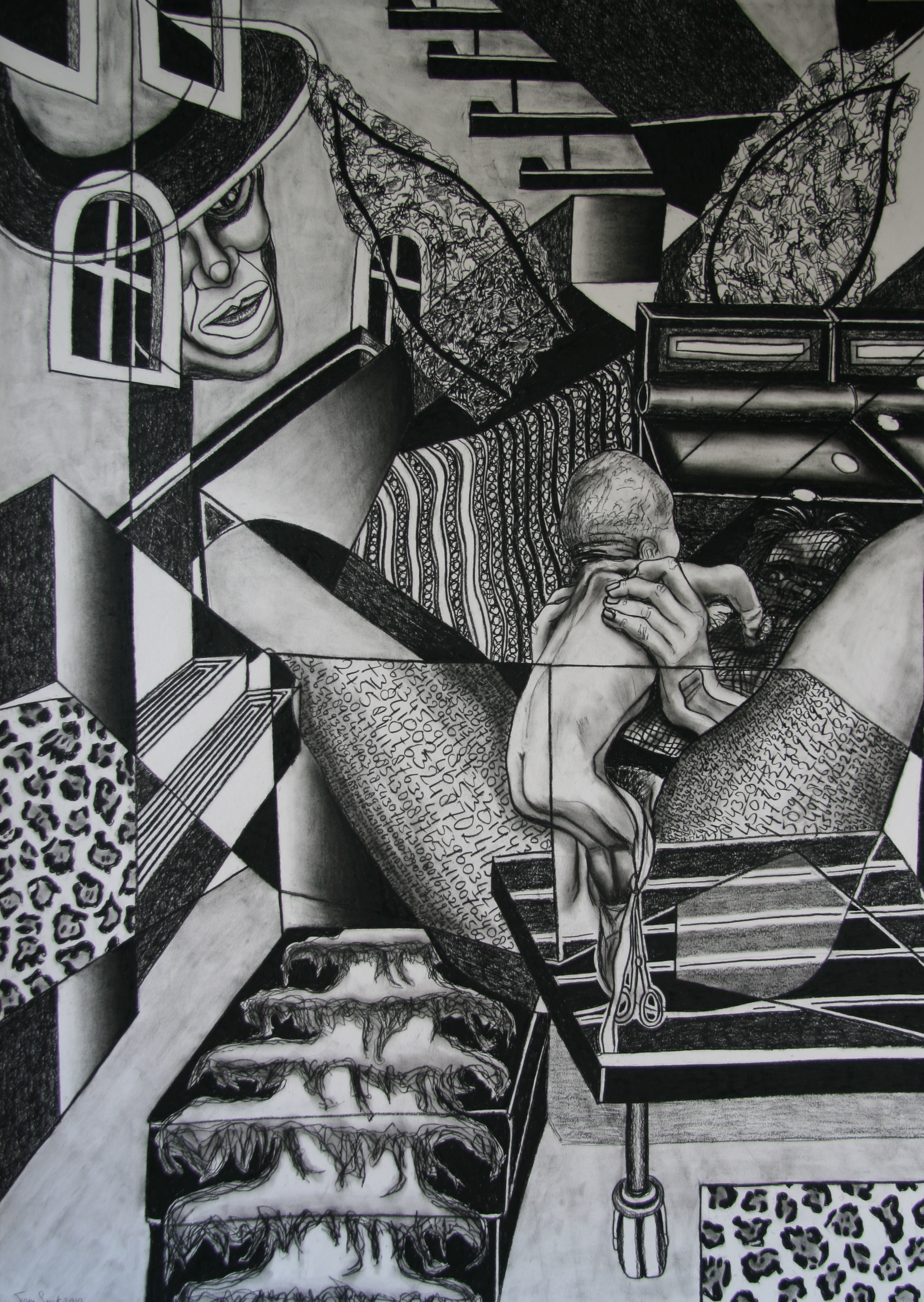 Stylist van de Sterren, 140x100cm, conte on paper