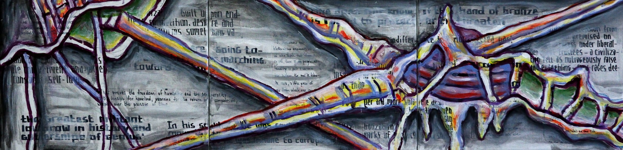 Triptych BZ, That Hand of Bronze was Immune to Corruption, acrylic, collage and marker on canvas, 30x120cm