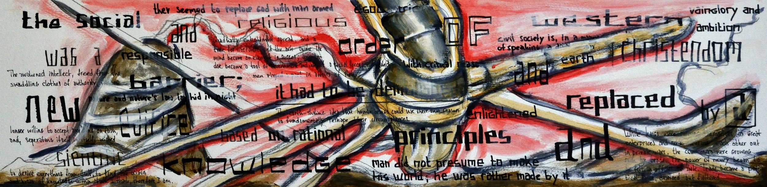 To Reshape the Instrument of Our Preservation, acrylic and marker on paper, 24x96cm