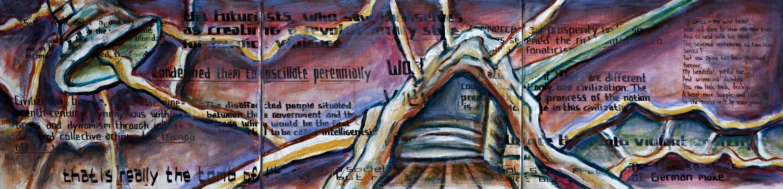 Triptych CR, His Attempt to Replace God with the High Priest of the Nation, acrylic, collage and marker on canvas, 30x120cm