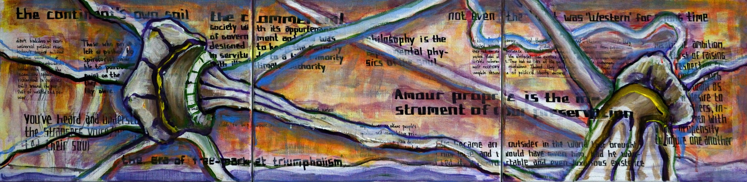 Triptych BO, There Flashed upon me, a Tryst with Destiny, acrylic, collage and marker on canvas, 30x120cm