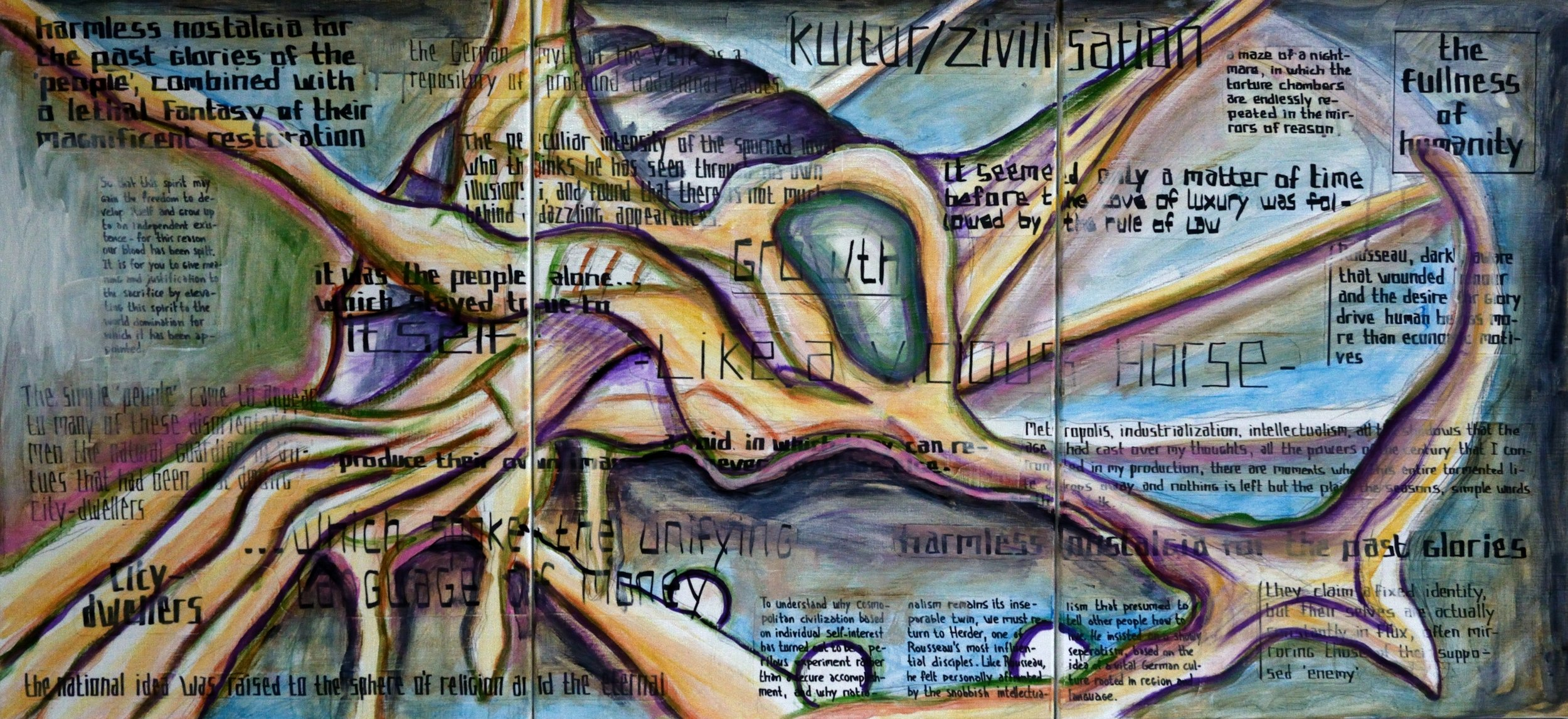 Triptych CL, The Peculiar Intensity of a Unifying Language, acrylic, collage and marker on canvas, 70x150cm
