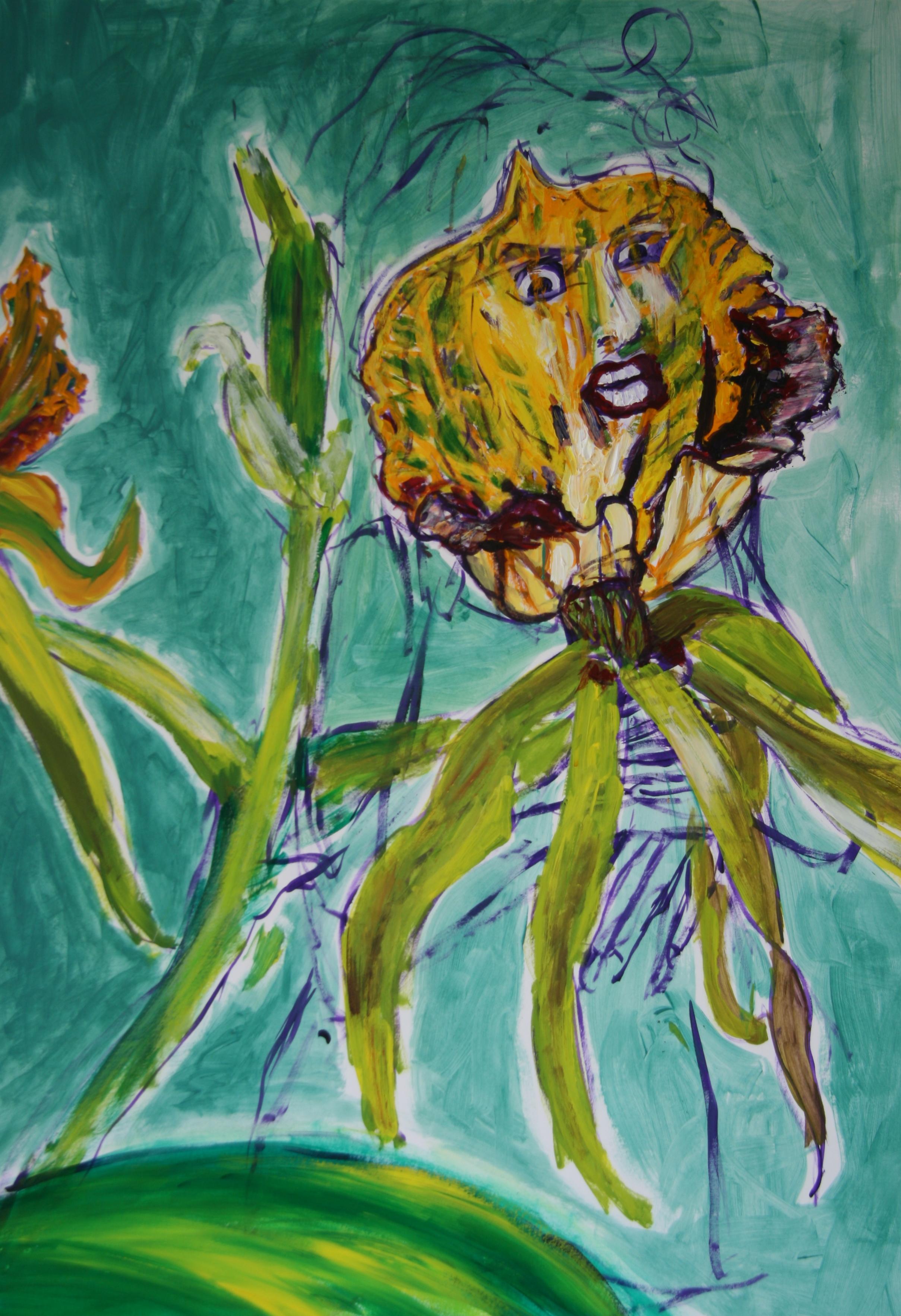 Die Begeisterte Blume 4, 100x70cm, acrylic on paper