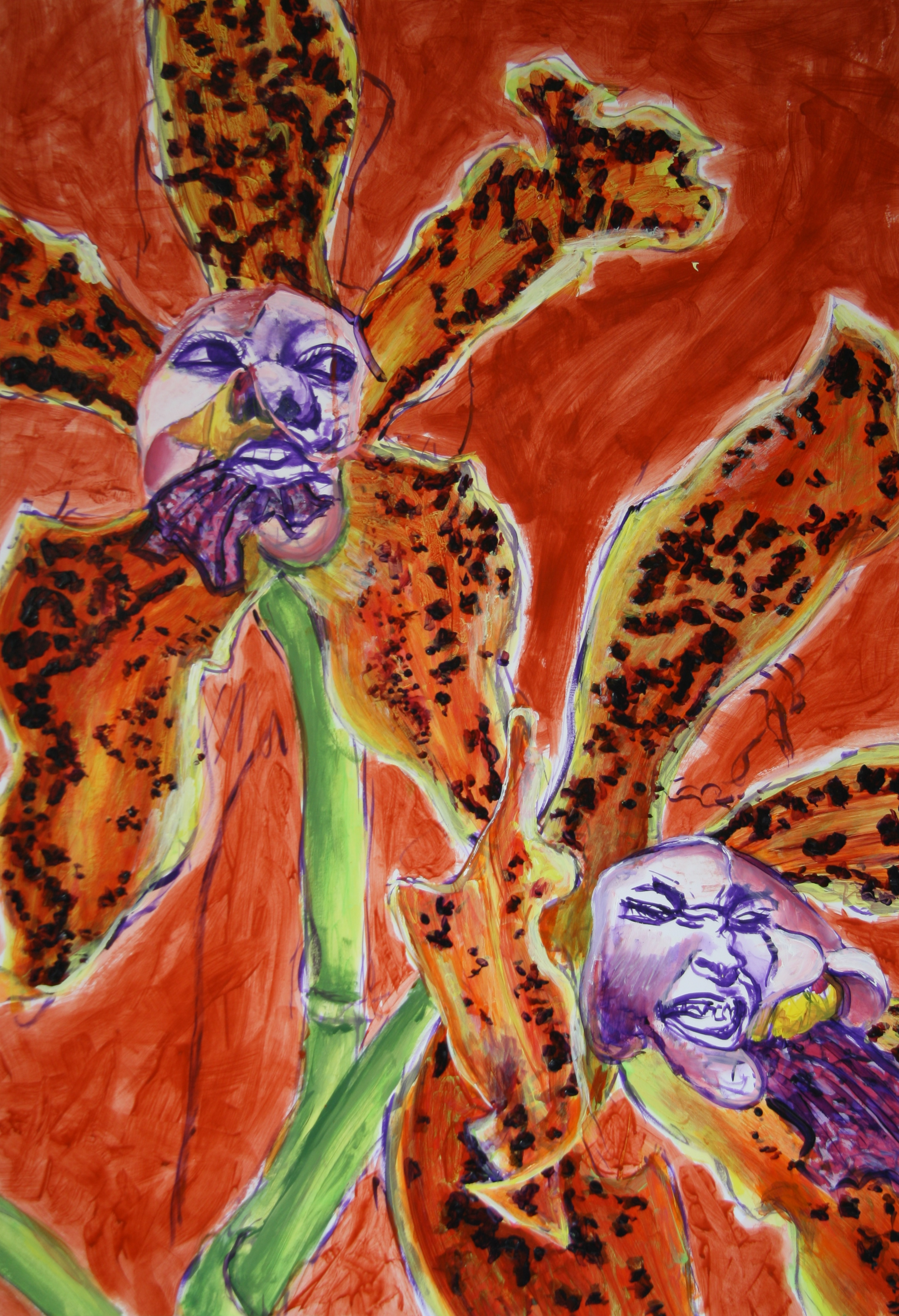 Die Begeisterte Blume 6, 100x70cm, acrylic on paper