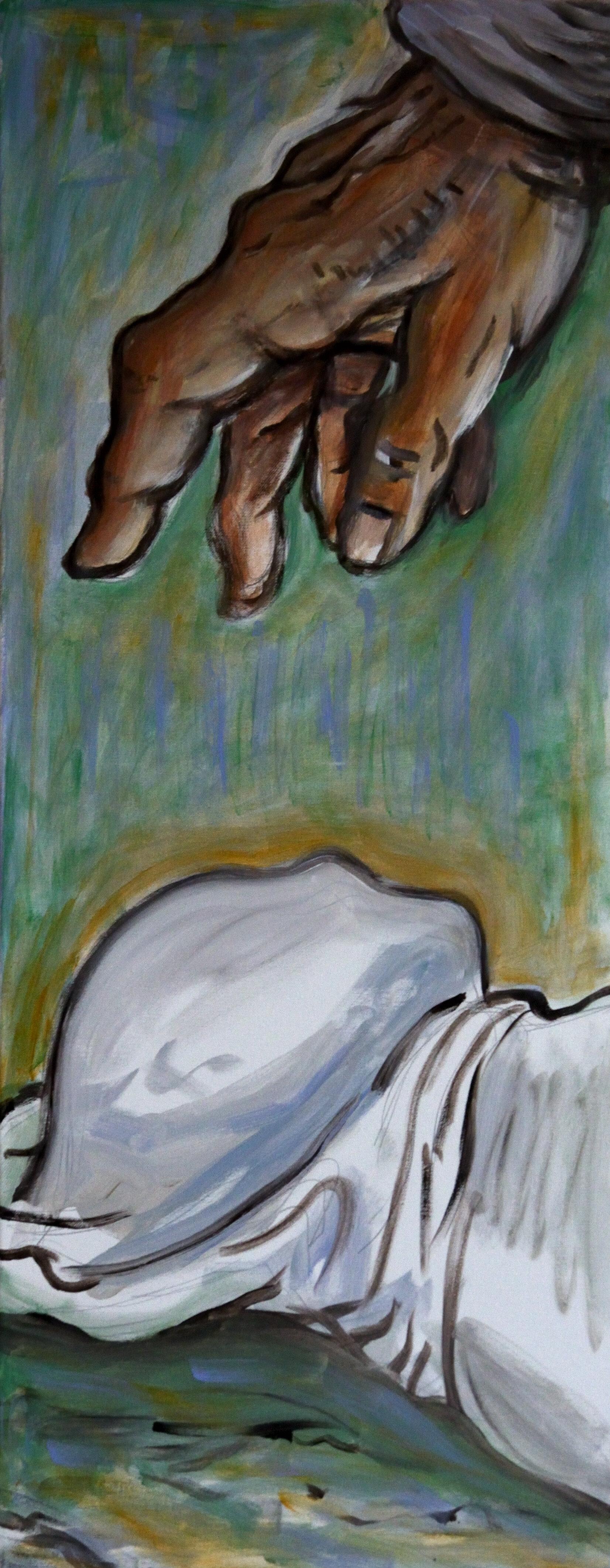 03. Study Death in Comics 2, acrylic on canvas, 100x40cm, 2019.JPG