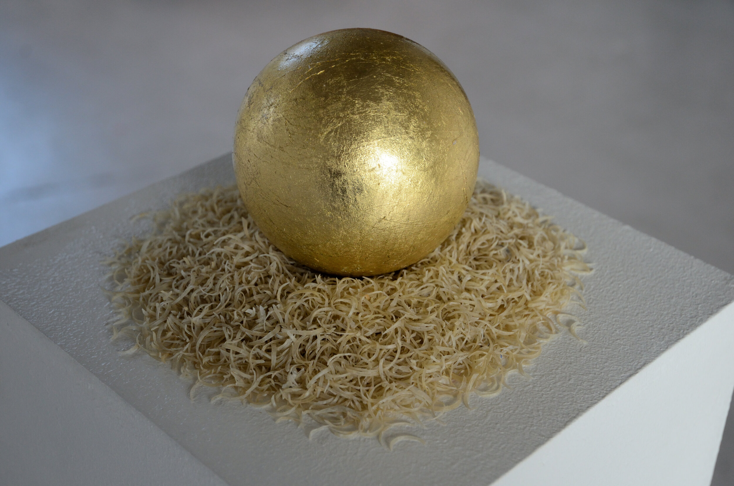 08. A Symbol for the Mind (close up), a gilded sphere on a bed of clipped fingernails, ca.25x25cm, 2019.JPG